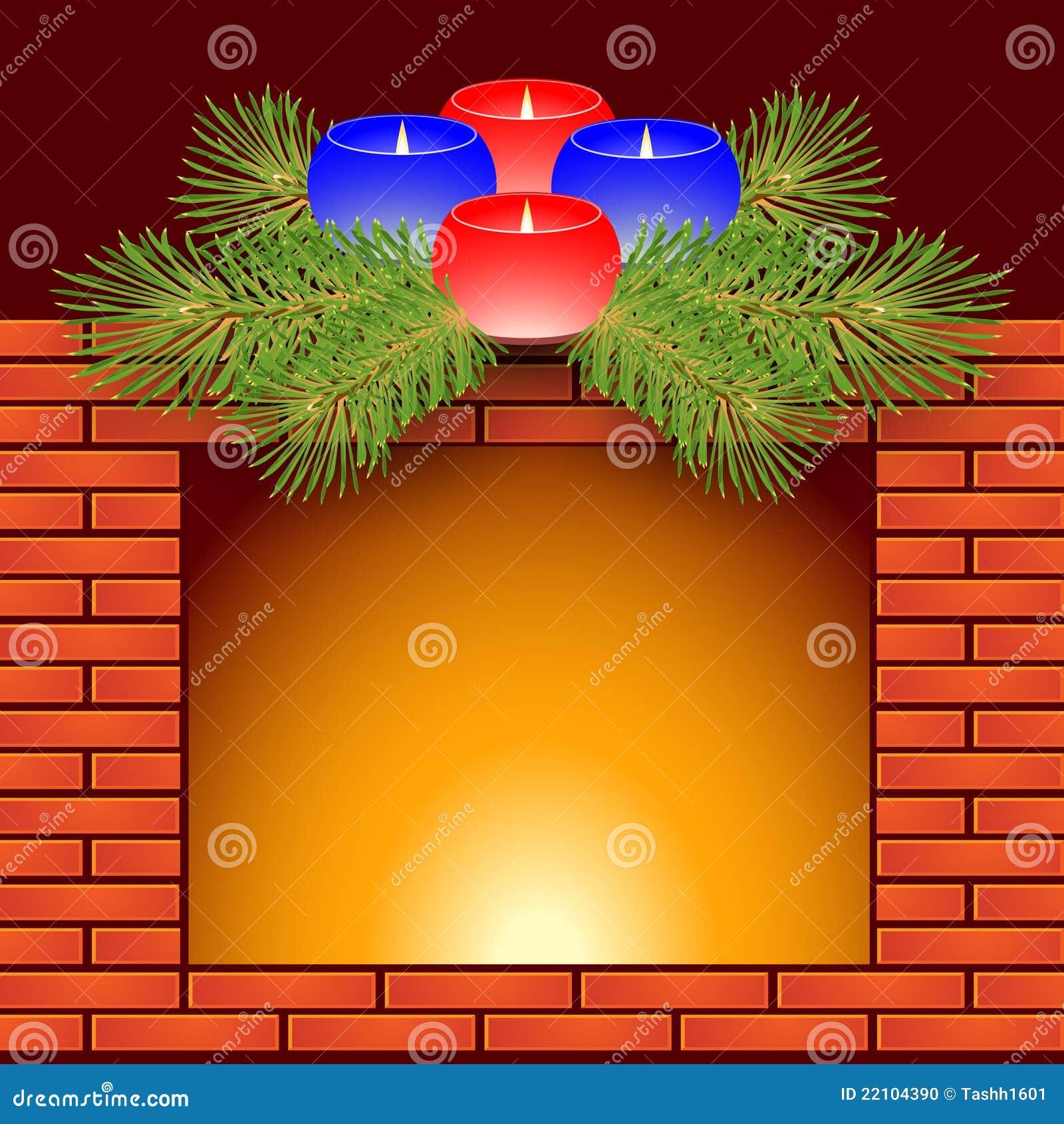 De Kaarsen Van De Open Haard En Van Kerstmis Stock Foto ...