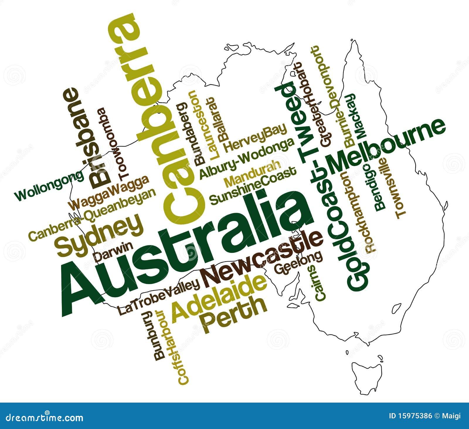 De kaart en de steden van Australië