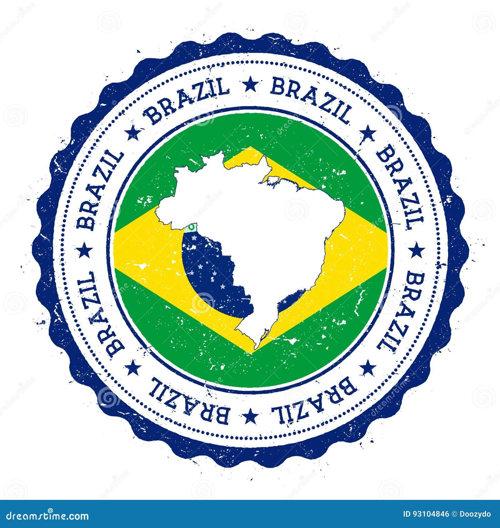 De kaart en de vlag van Brazilië in uitstekende rubberzegel van