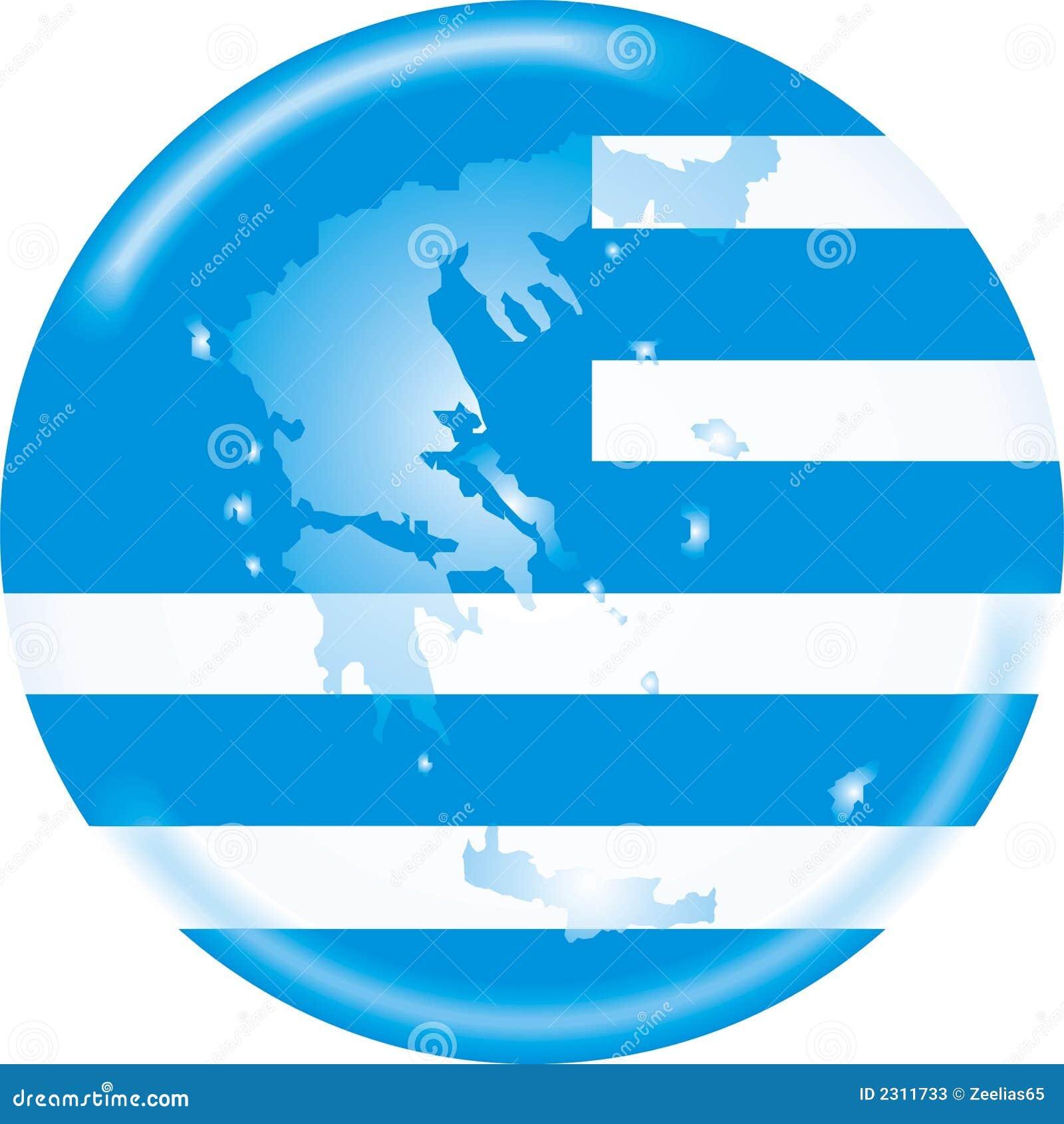 De kaart en de vlag van Griekenland