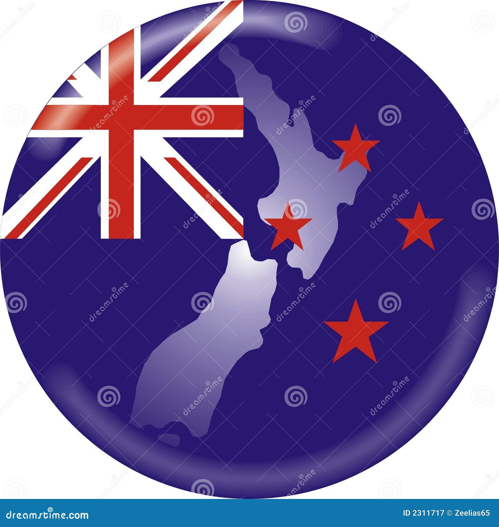 De kaart en de vlag van Nieuw Zeeland