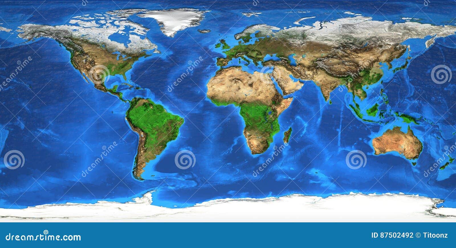 De kaart en landforms van de hoge resolutiewereld