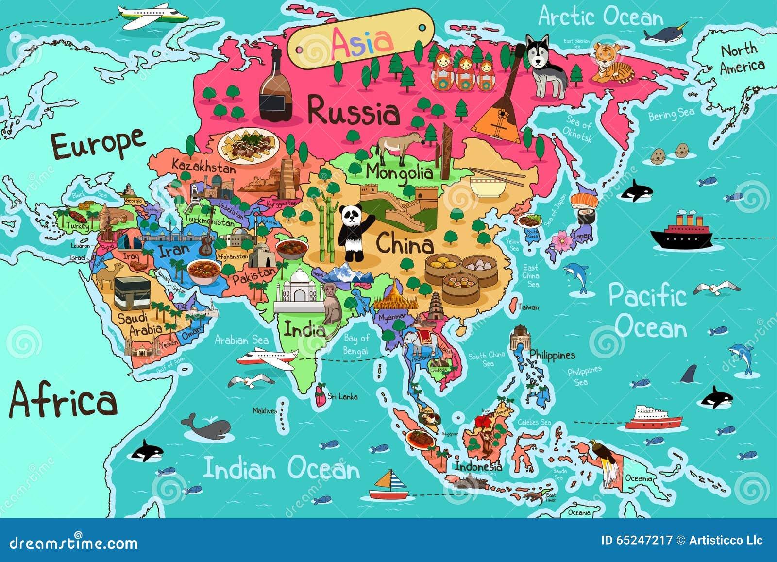 De kaart van Azië