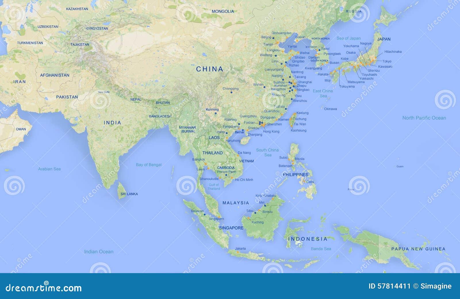 De kaart van Azië in hoge revolutie 2