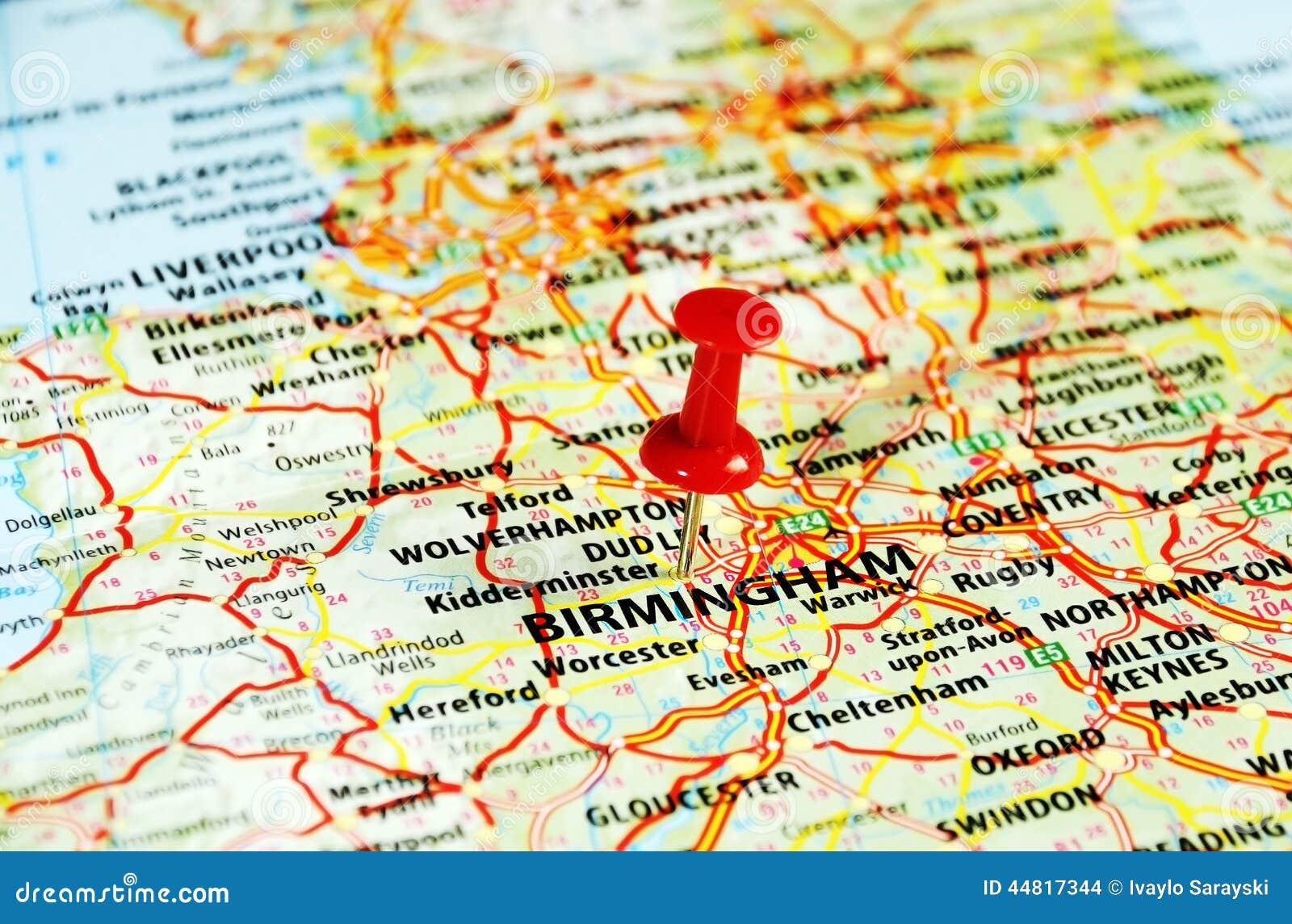 De kaart van Birmingham, het UK