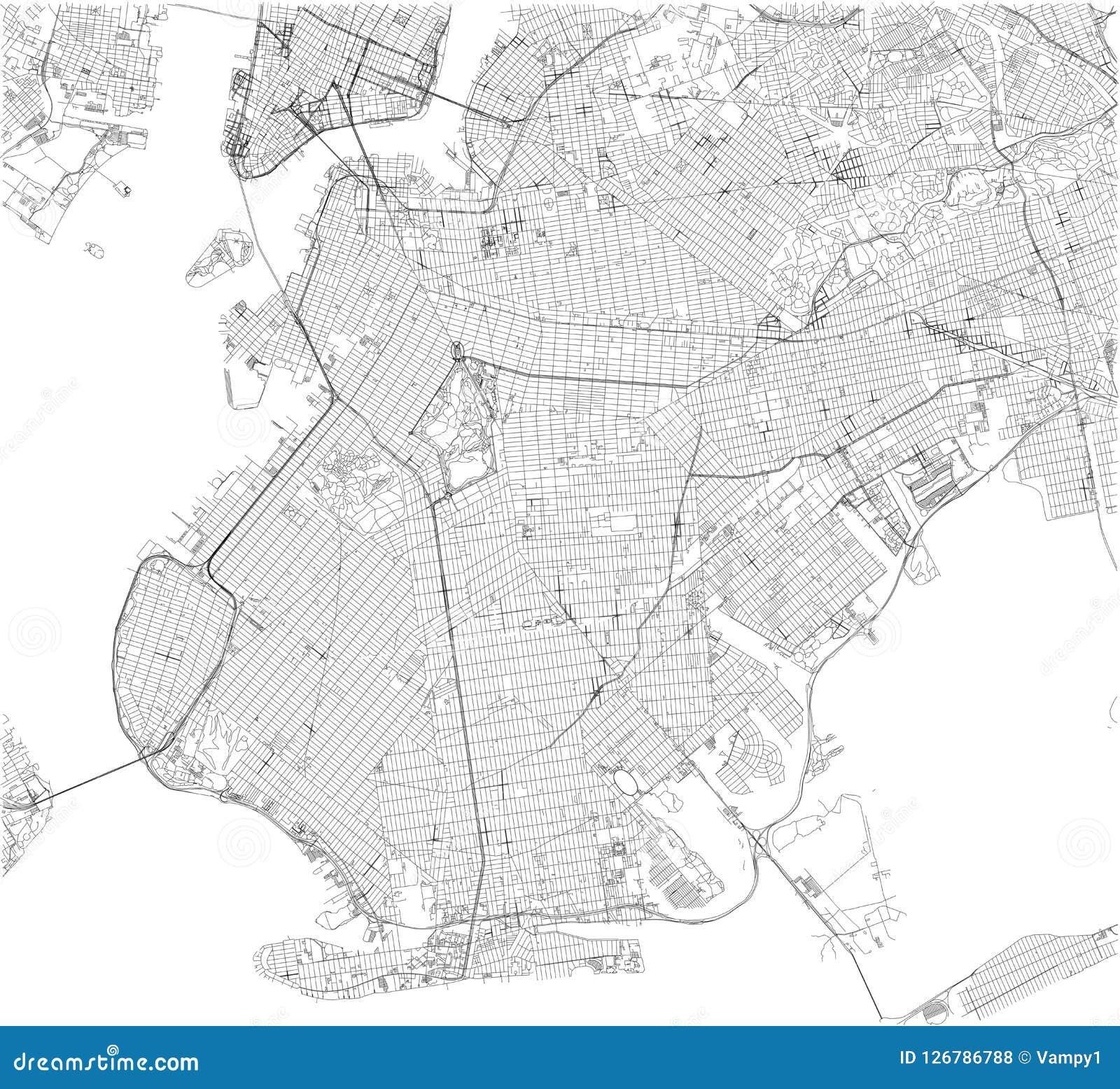 De kaart van Brooklyn, de stad van New York, straten en district De V.S.