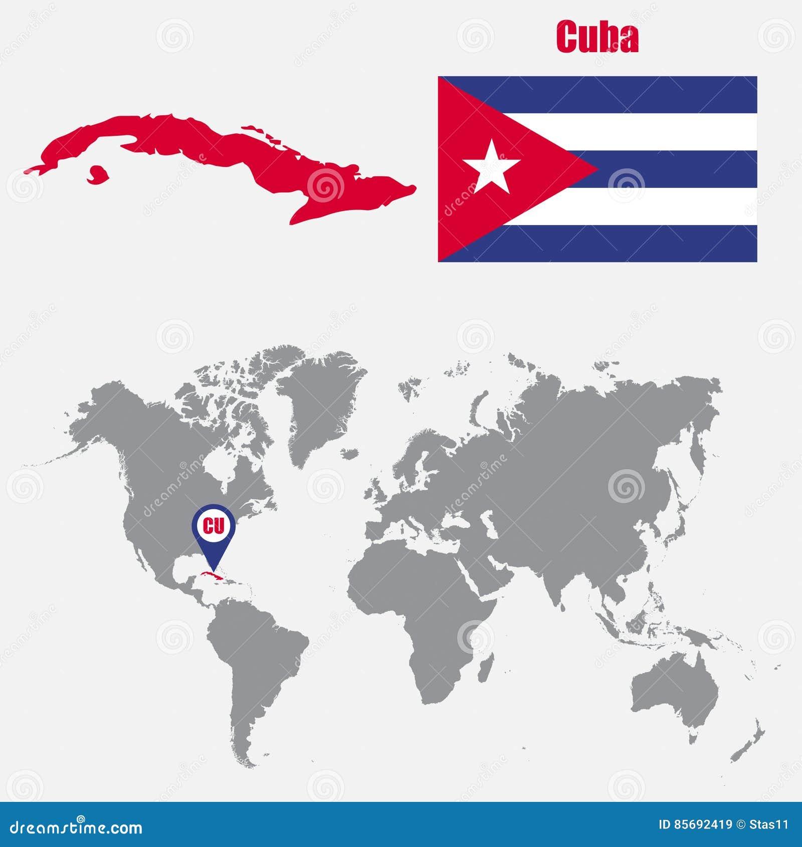 De Kaart Van Cuba Op Een Wereldkaart Met Vlag En Kaartwijzer
