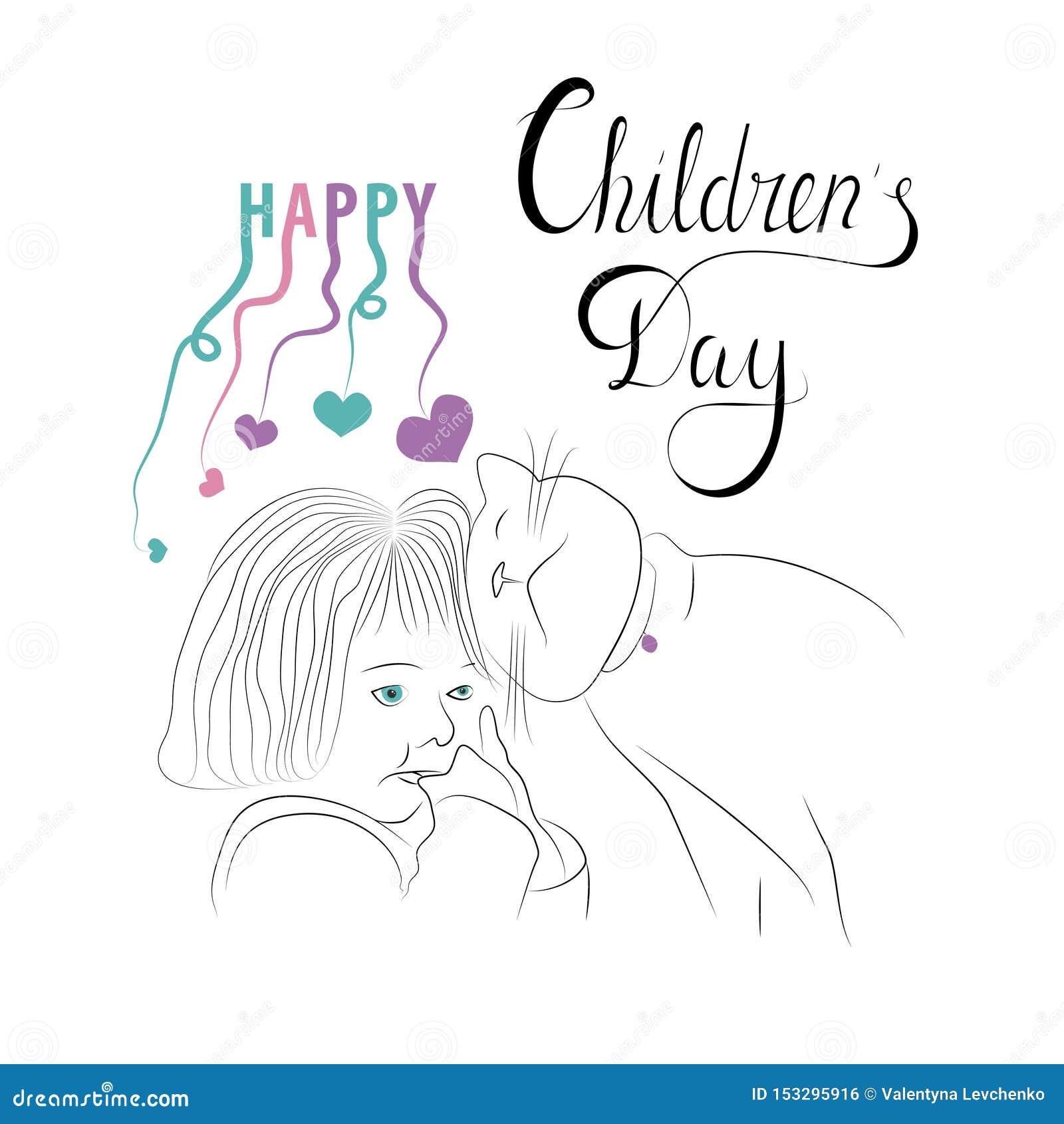 De kaart van de de Daggroet van gelukkige Kinderen Affiches, vliegers