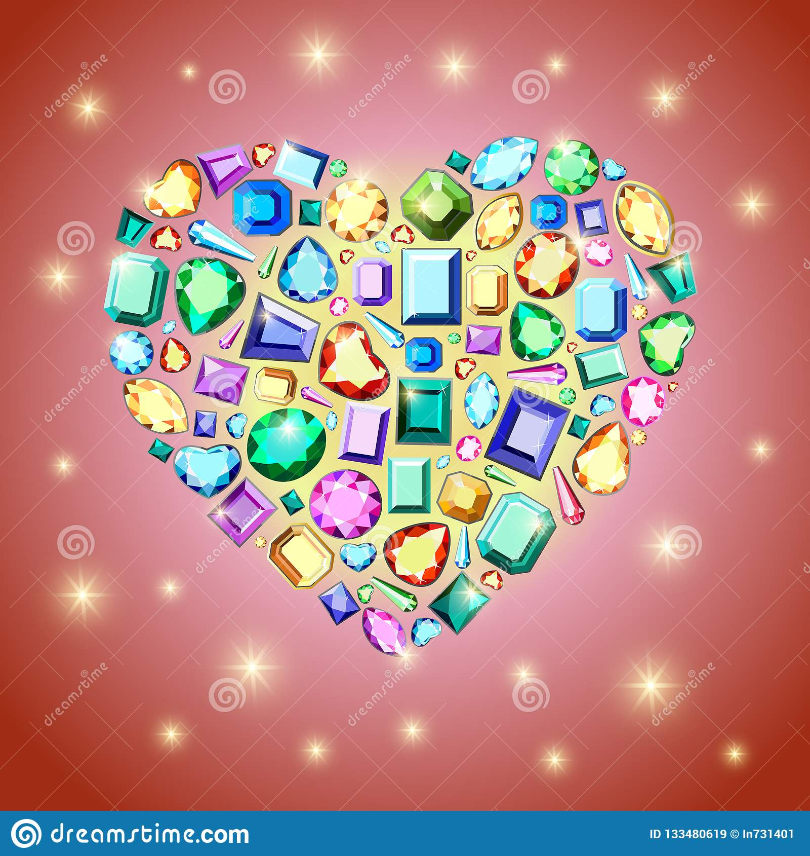 De kaart van de de daggroet van Valentine met diamanten op heldere rode backgr