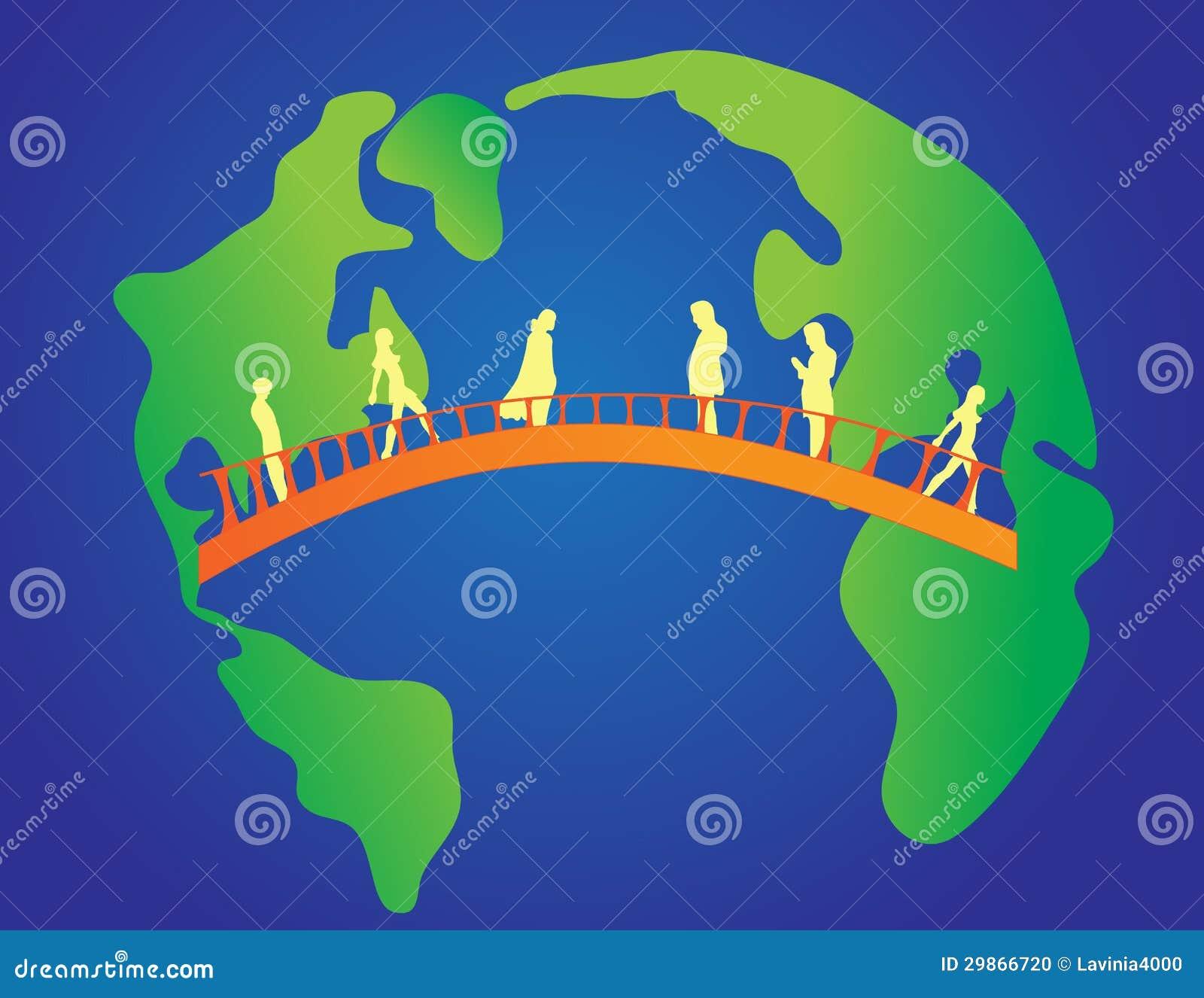 Brug tussen continenten vector illustratie afbeelding bestaande uit mededeling 29866720 - Kaart evenwicht tussen werk en ...