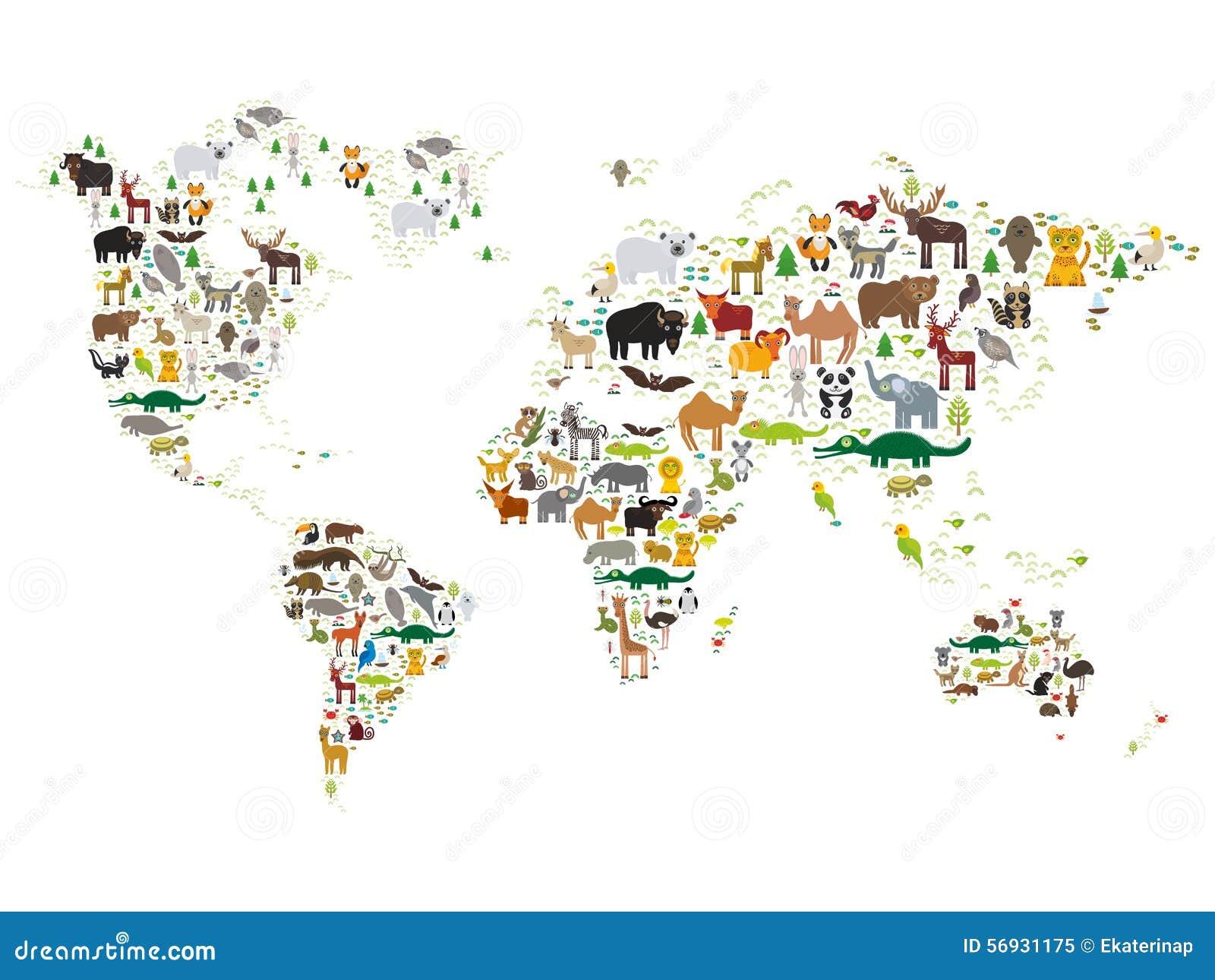 De kaart van de beeldverhaal dierenwereld voor kinderen en jonge geitjes, Dieren van over de hele wereld op witte achtergrond Vec