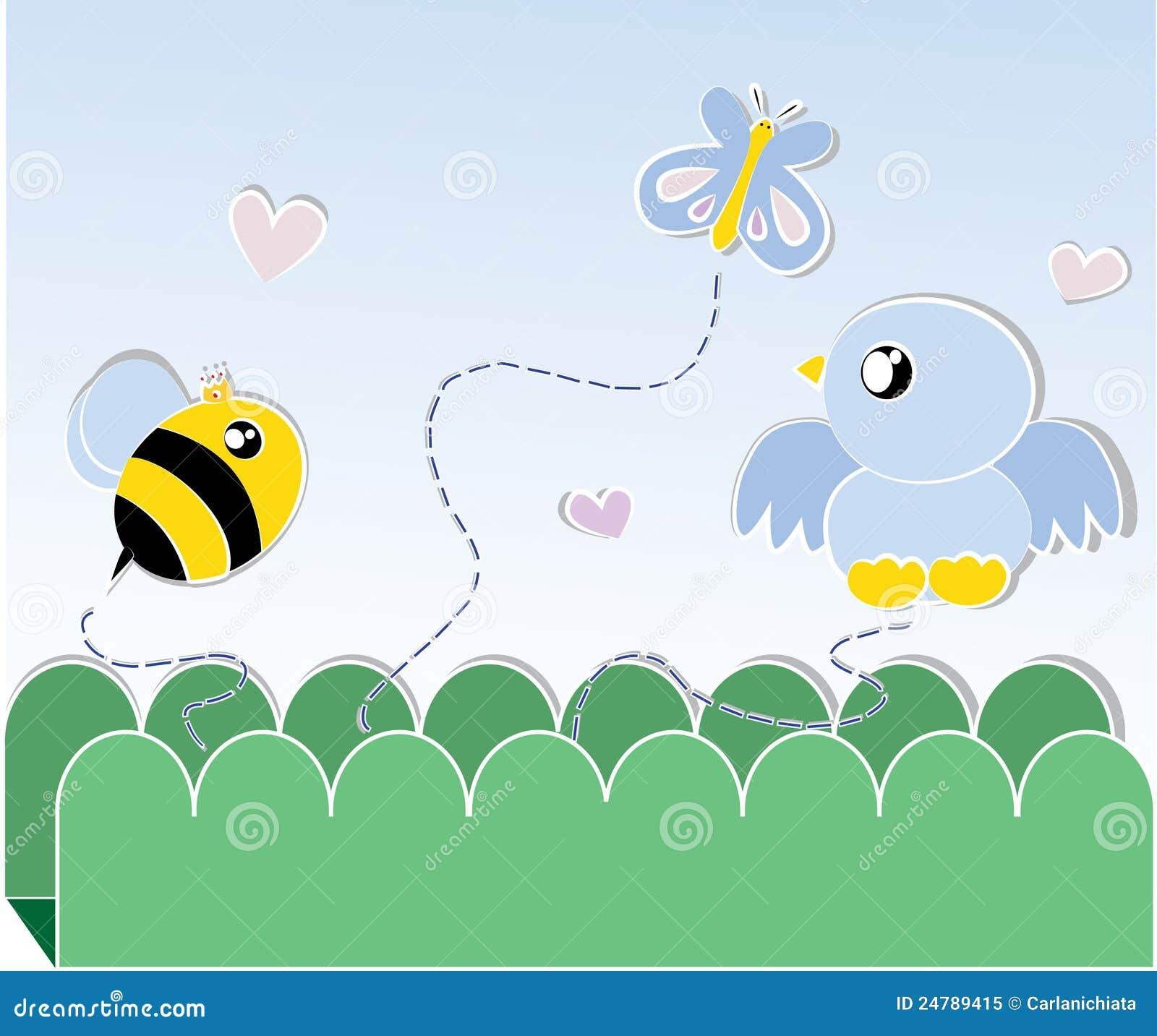 De kaart van de bij en van de vogel
