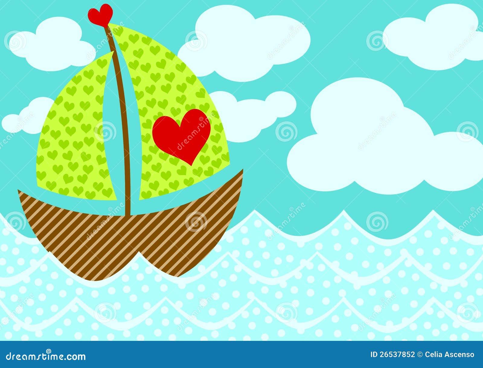 De Kaart van de Dag van de Valentijnskaarten van de Boot van de liefde