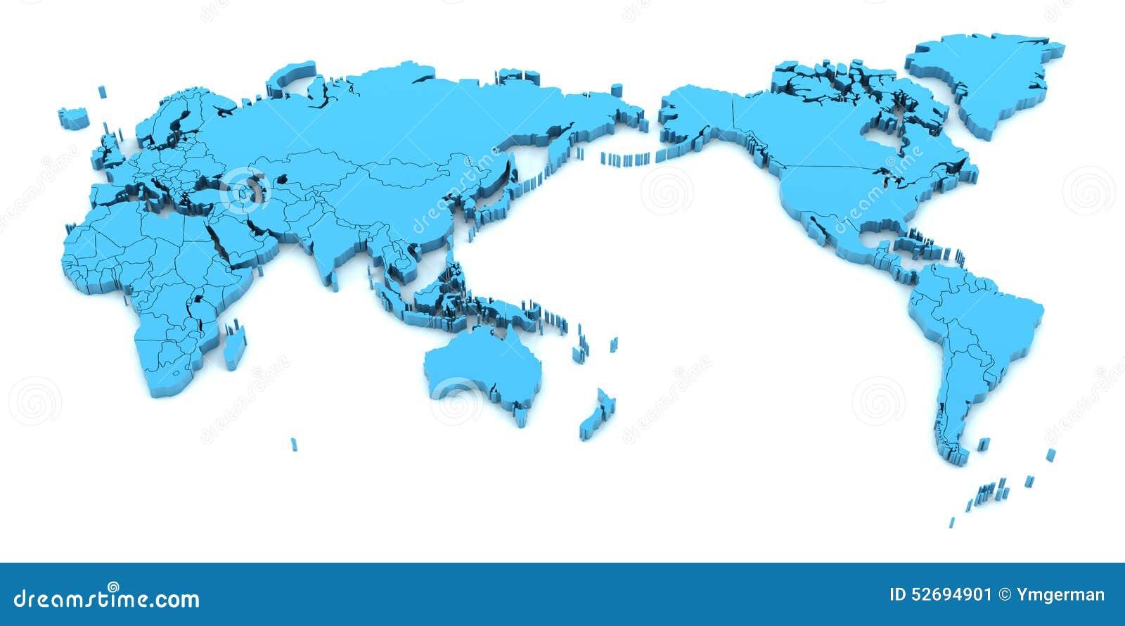 De kaart van de detailwereld met nationale 3d grenzen, geeft terug