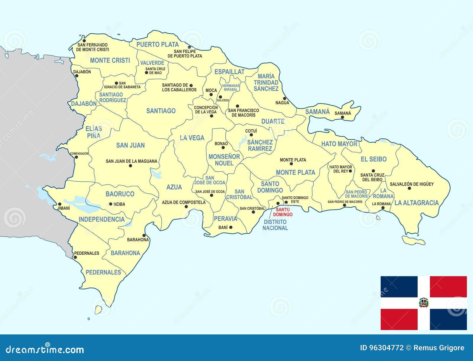 De kaart van de Dominicaanse Republiek