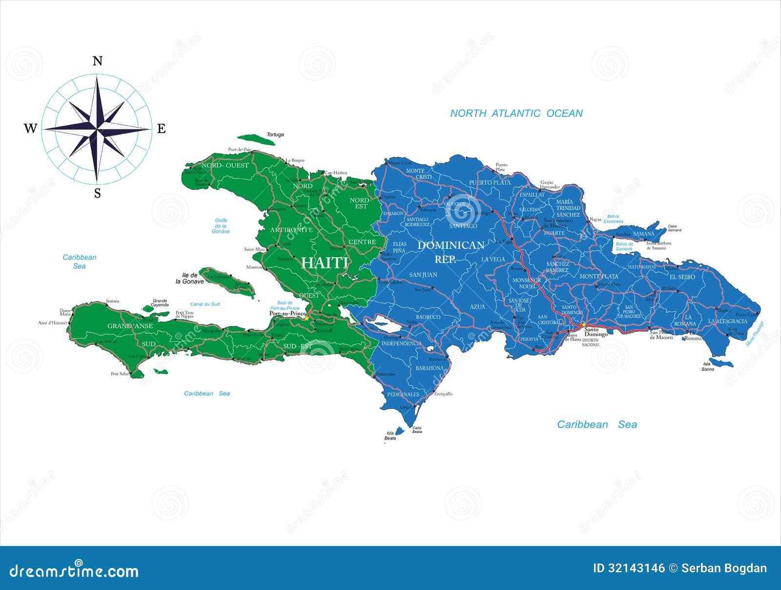 De kaart van de Dominicaanse Republiek en van Haïti