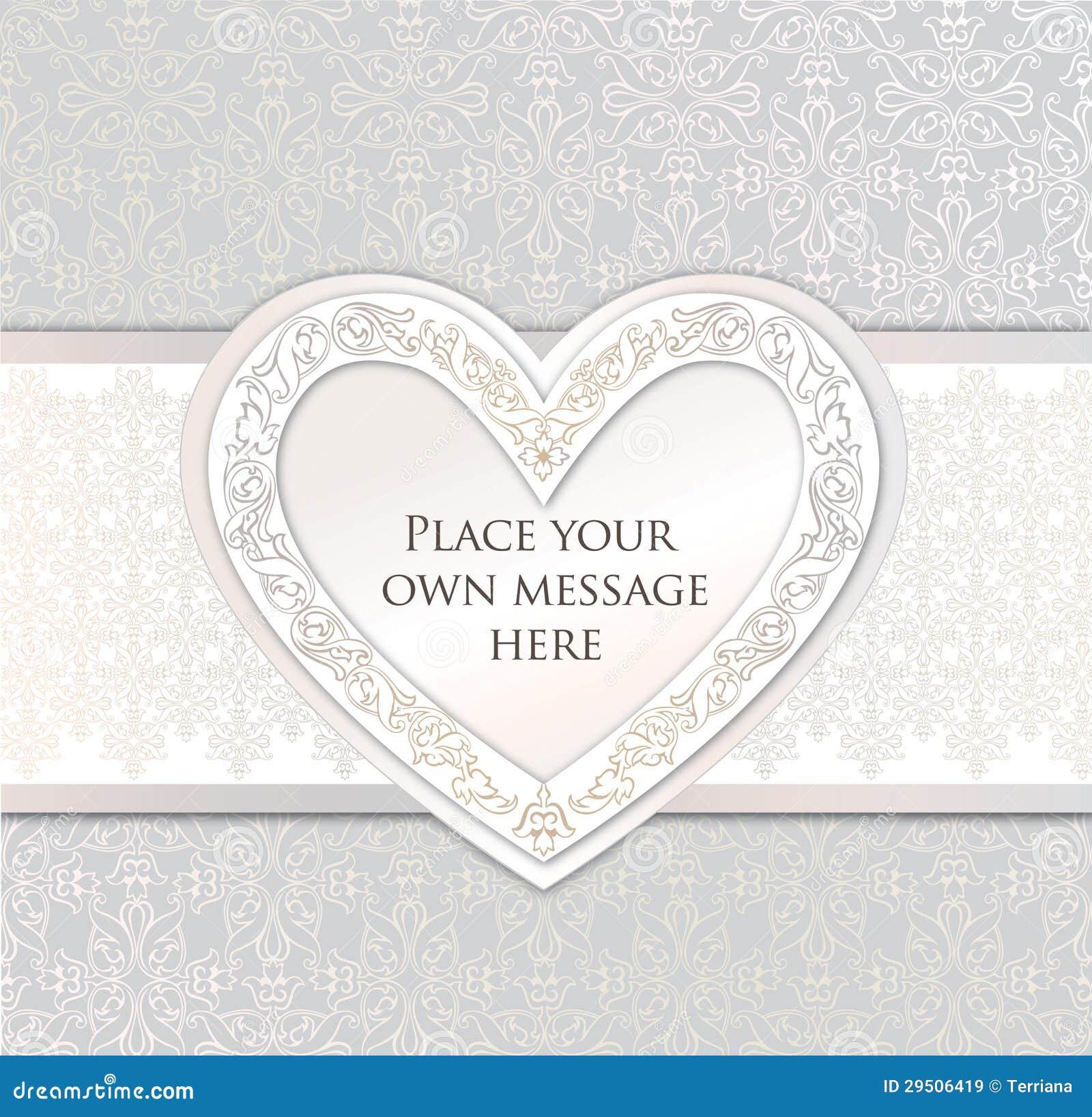 De kaart van de groet. het kader van het liefdehart voor de dag of het wdding van de Valentijnskaart