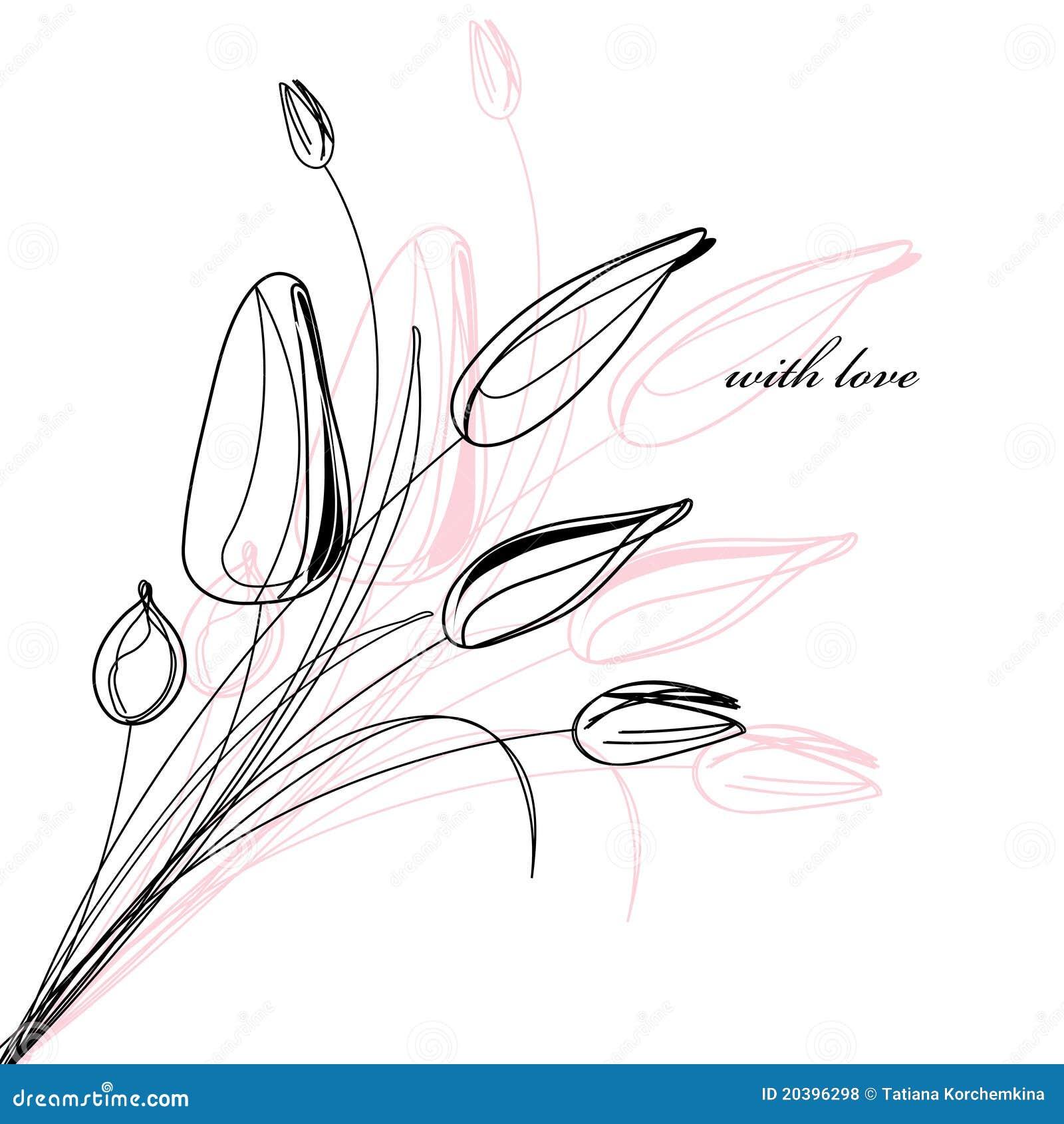 De kaart van de groet met een schets van tulpen