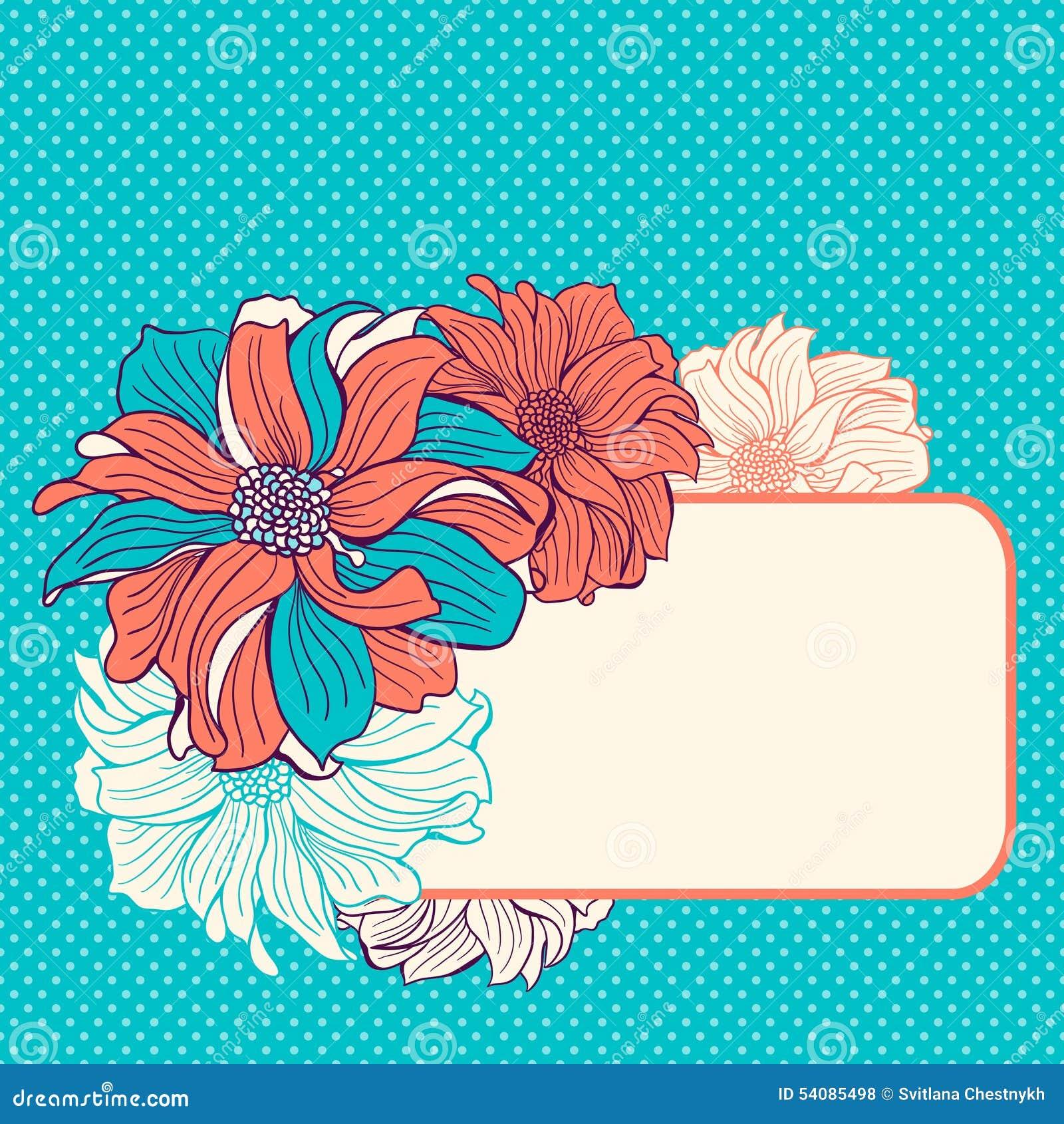 De kaart van de groet met hand-drawn bloemen