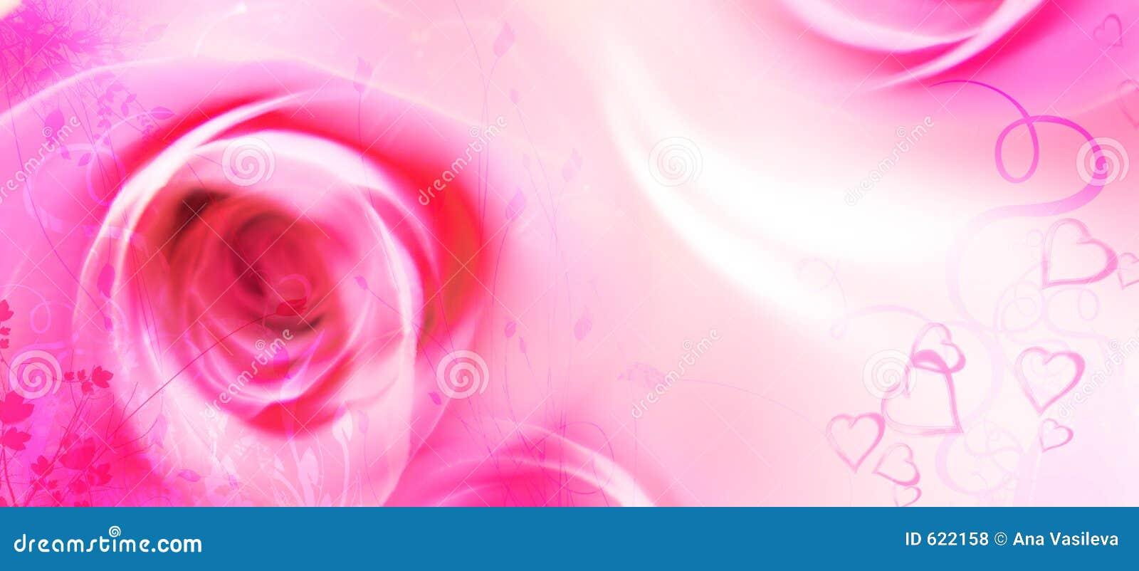 De Kaart van de Groet van de liefde - St Valentijnskaart - Bloemen - Rozen, Harten
