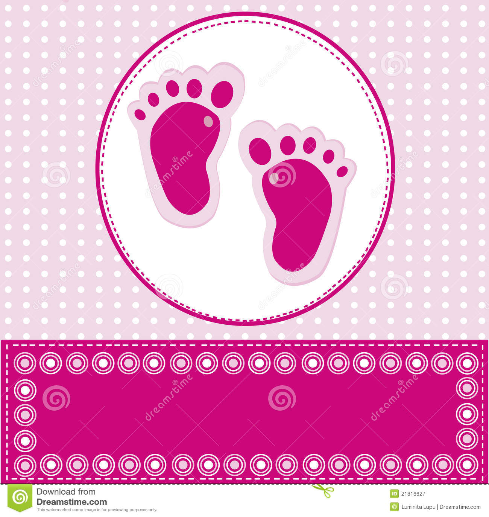 De kaart van de het meisjesgroet van de baby met voetstappen royalty vrije stock fotografie - Baby voet verkoop ...