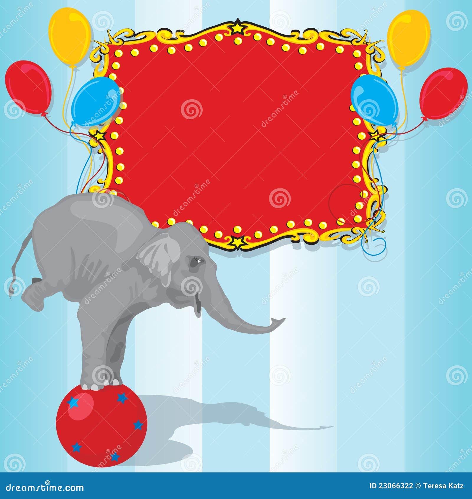 De Kaart Van De Uitnodiging Van De Partij Van De Verjaardag Van De Olifant Van Het Circus Vector ...
