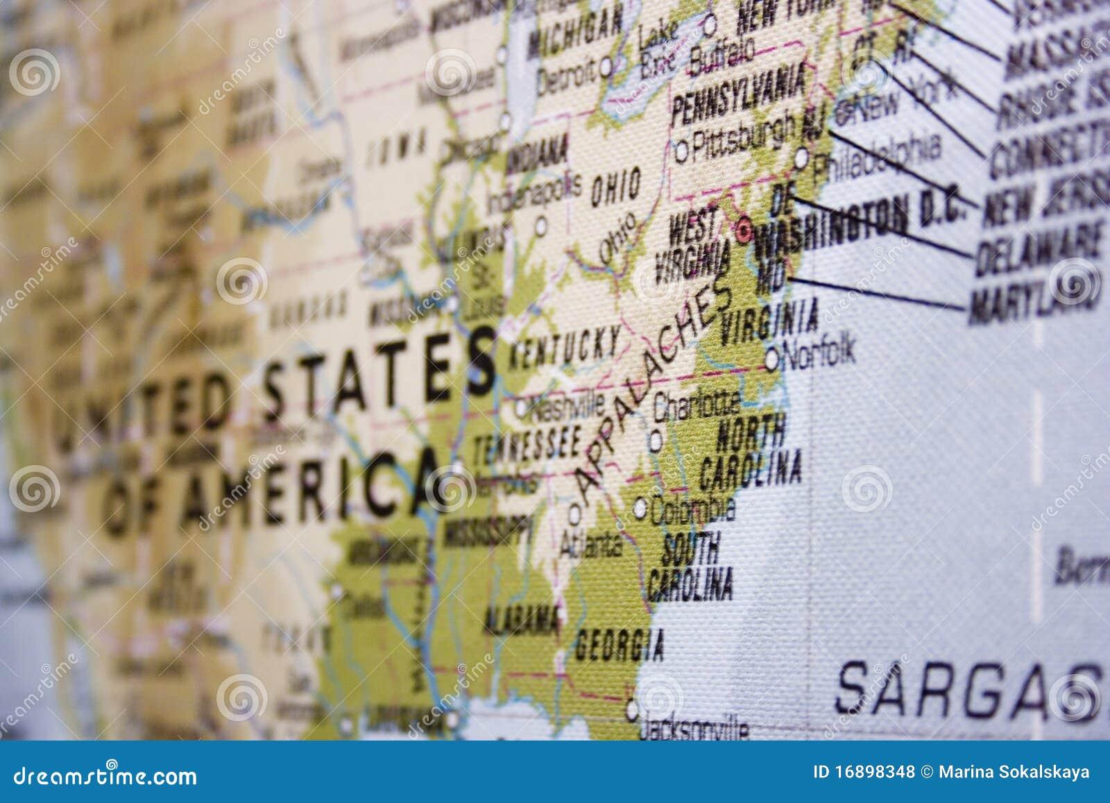 De kaart van de V.S. met nadruk op oostelijk deel