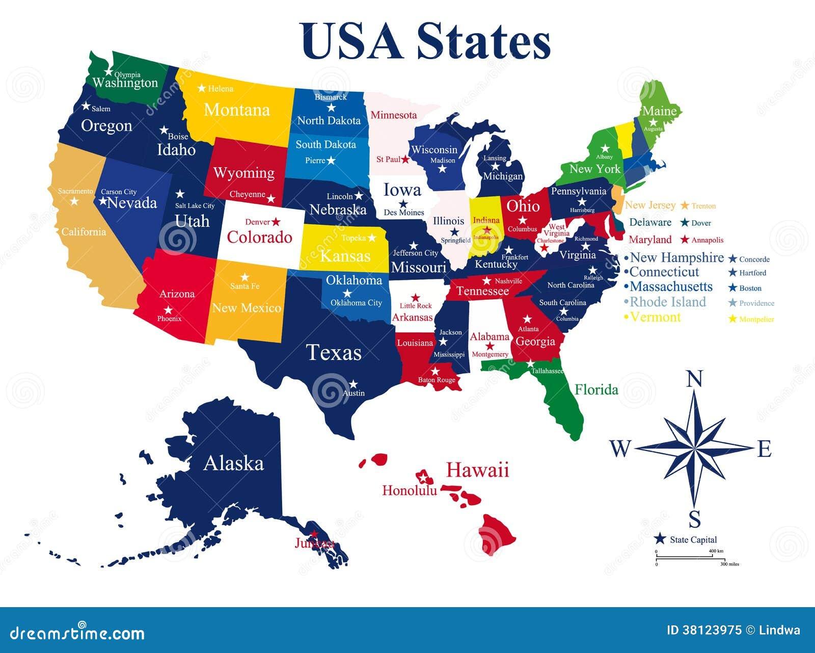 De Kaart Van De V S  Met Staten En Hoofdsteden Royalty vrije Stock Foto   Afbeelding  38123975