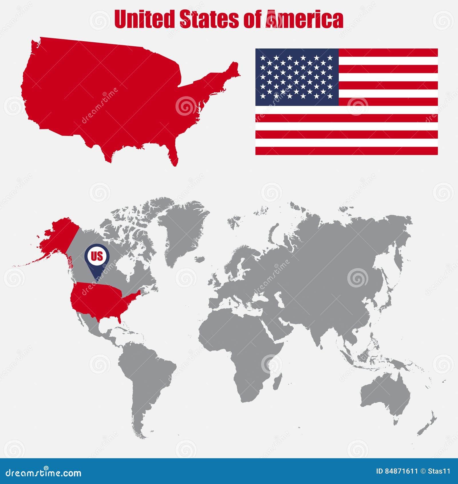 De kaart van de V.S. op een wereldkaart met vlag en kaartwijzer Vector illustratie