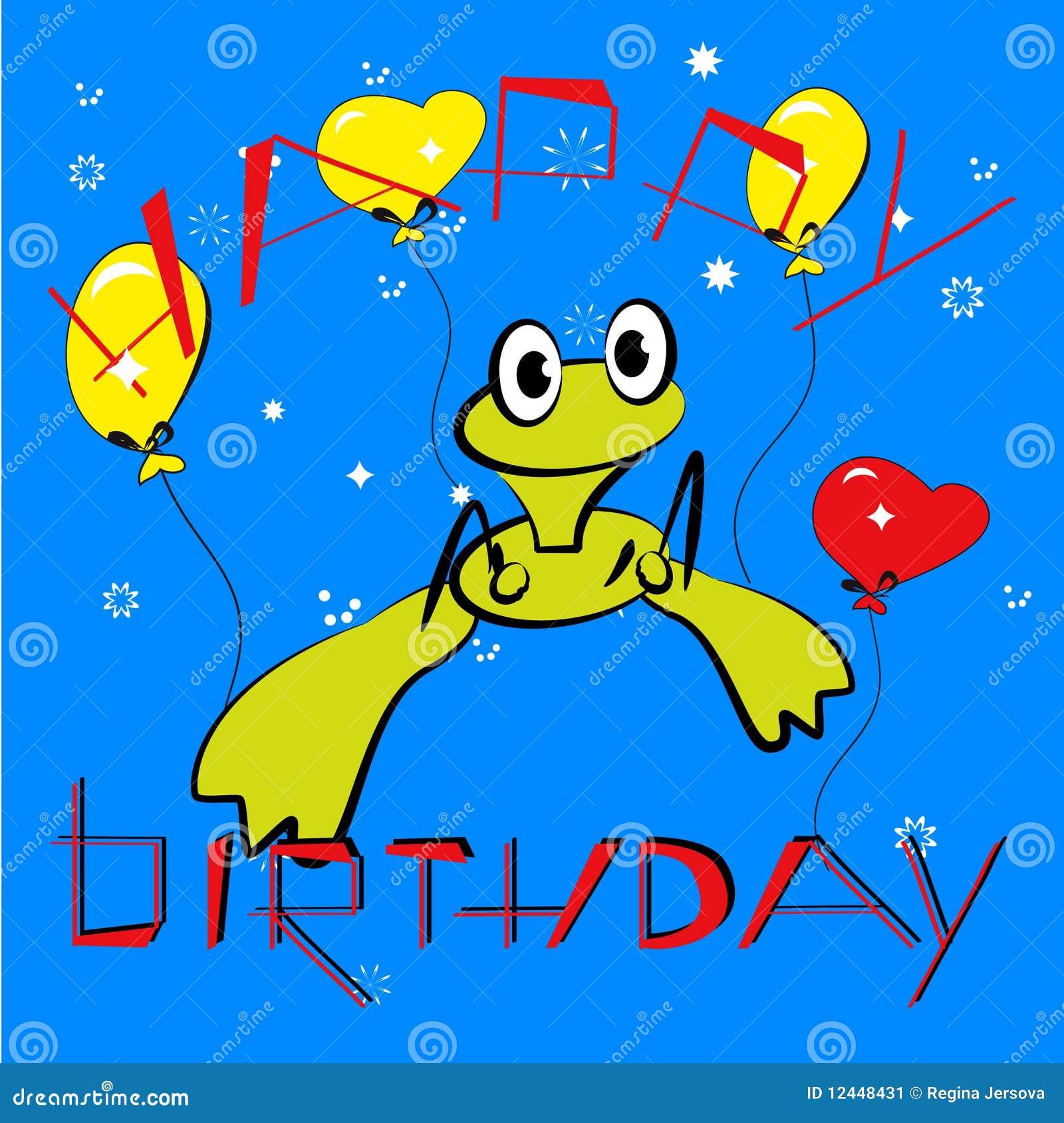 De Kaart Van De Verjaardag Met Kikker Vector Illustratie