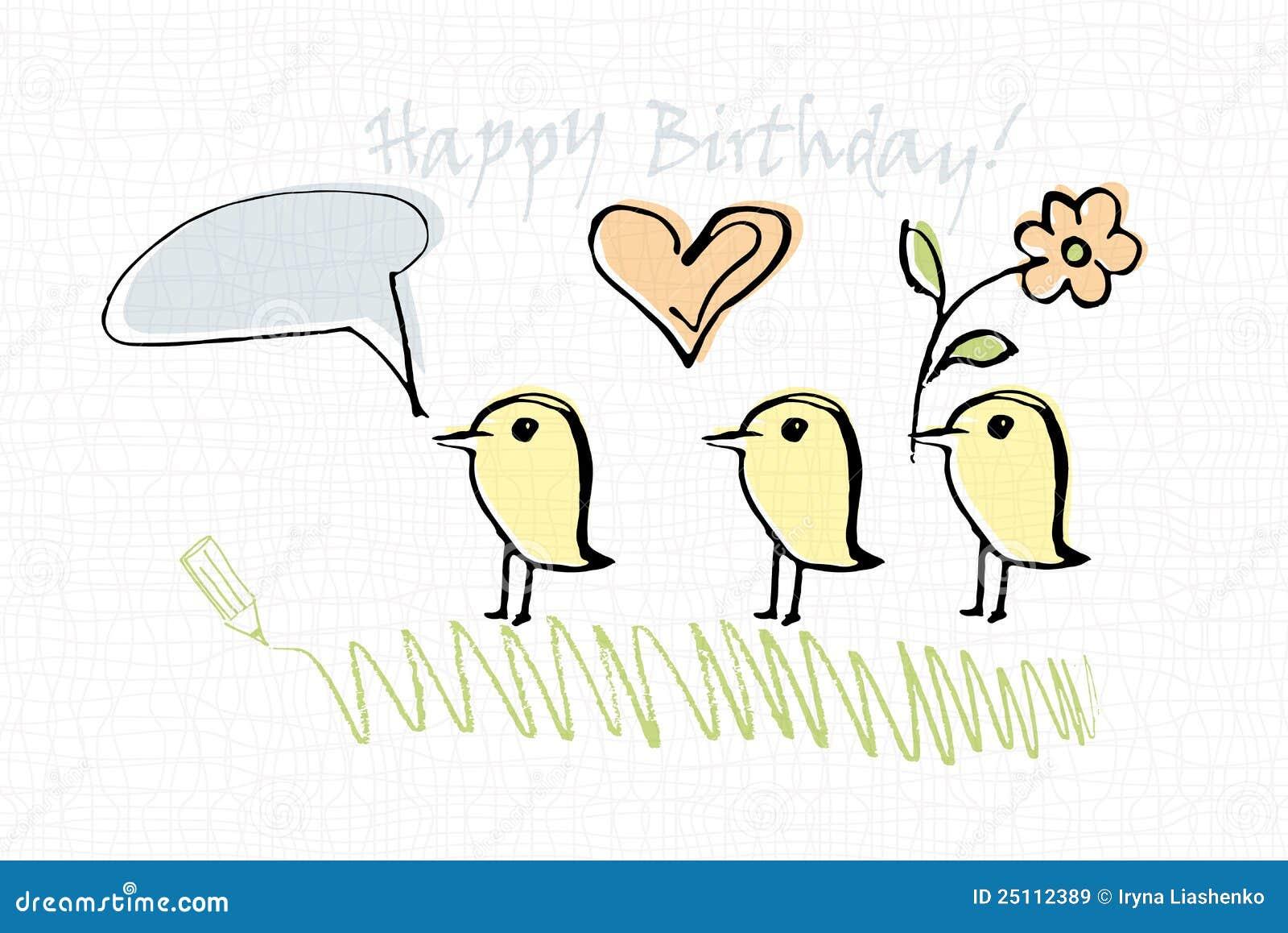 De Kaart Van De Verjaardag Met Vogels Vector Illustratie