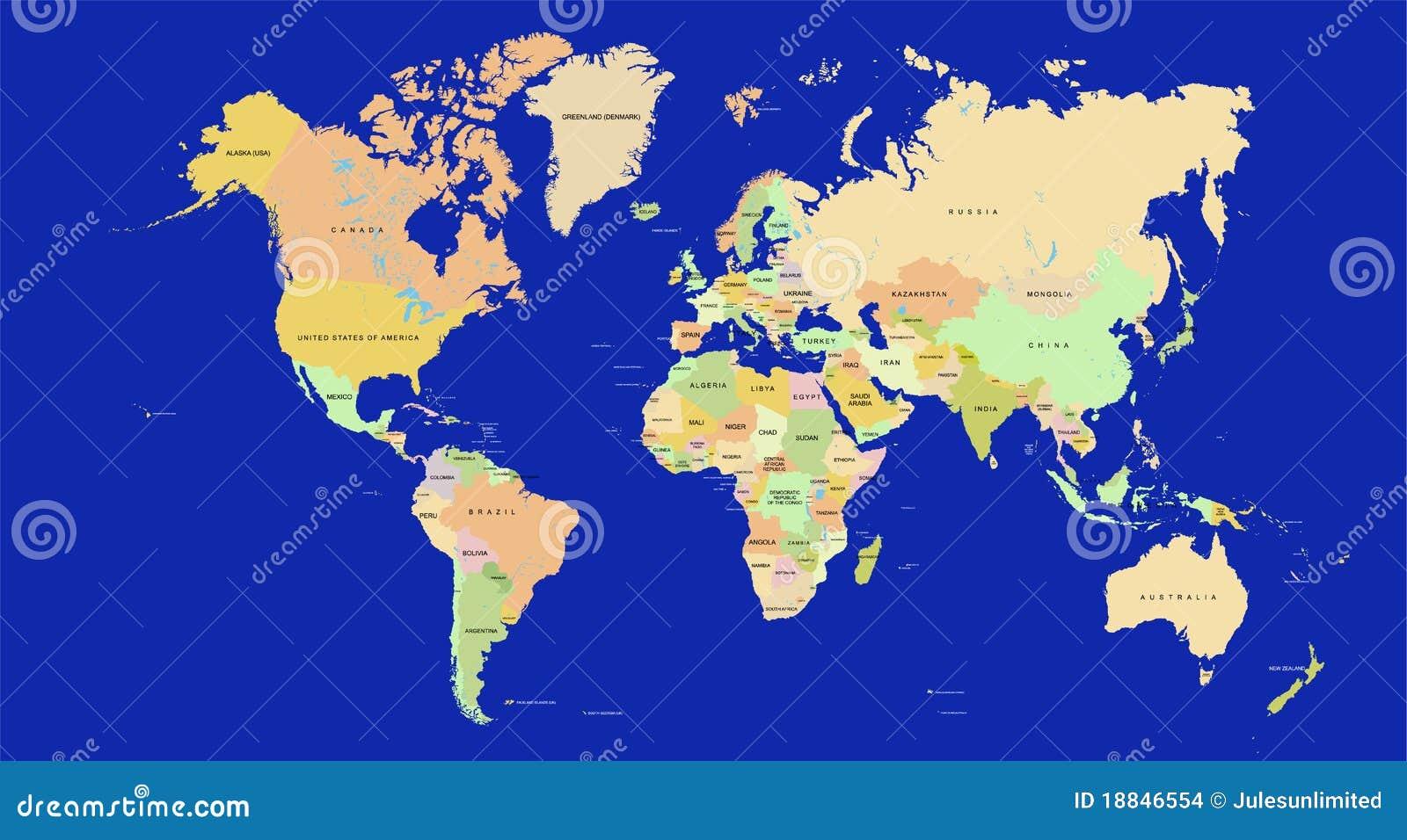 De kaart van de wereld in detail vector illustratie afbeelding 18846554 - Vloerlamp van de wereld ...