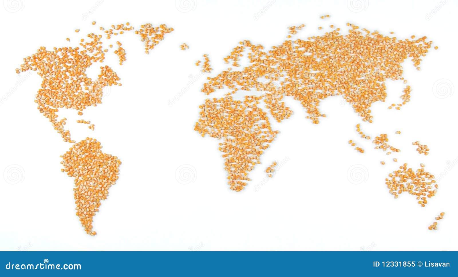 De kaart van de wereld graan stock afbeelding afbeelding 12331855 - Lamppost huizen van de wereld ...
