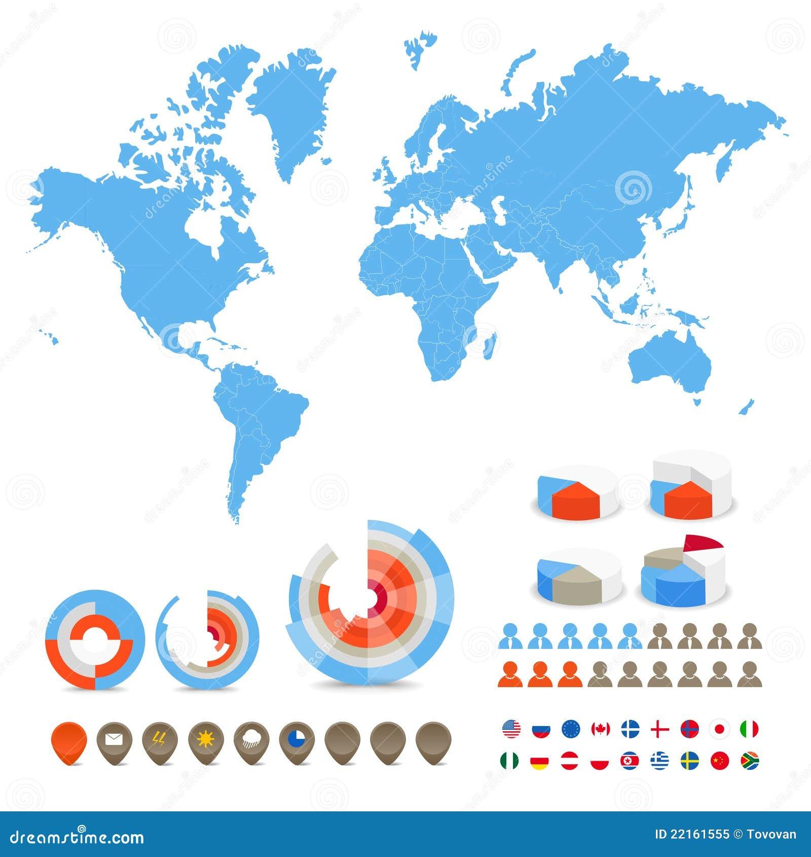 De kaart van de wereld met speciale symbolen