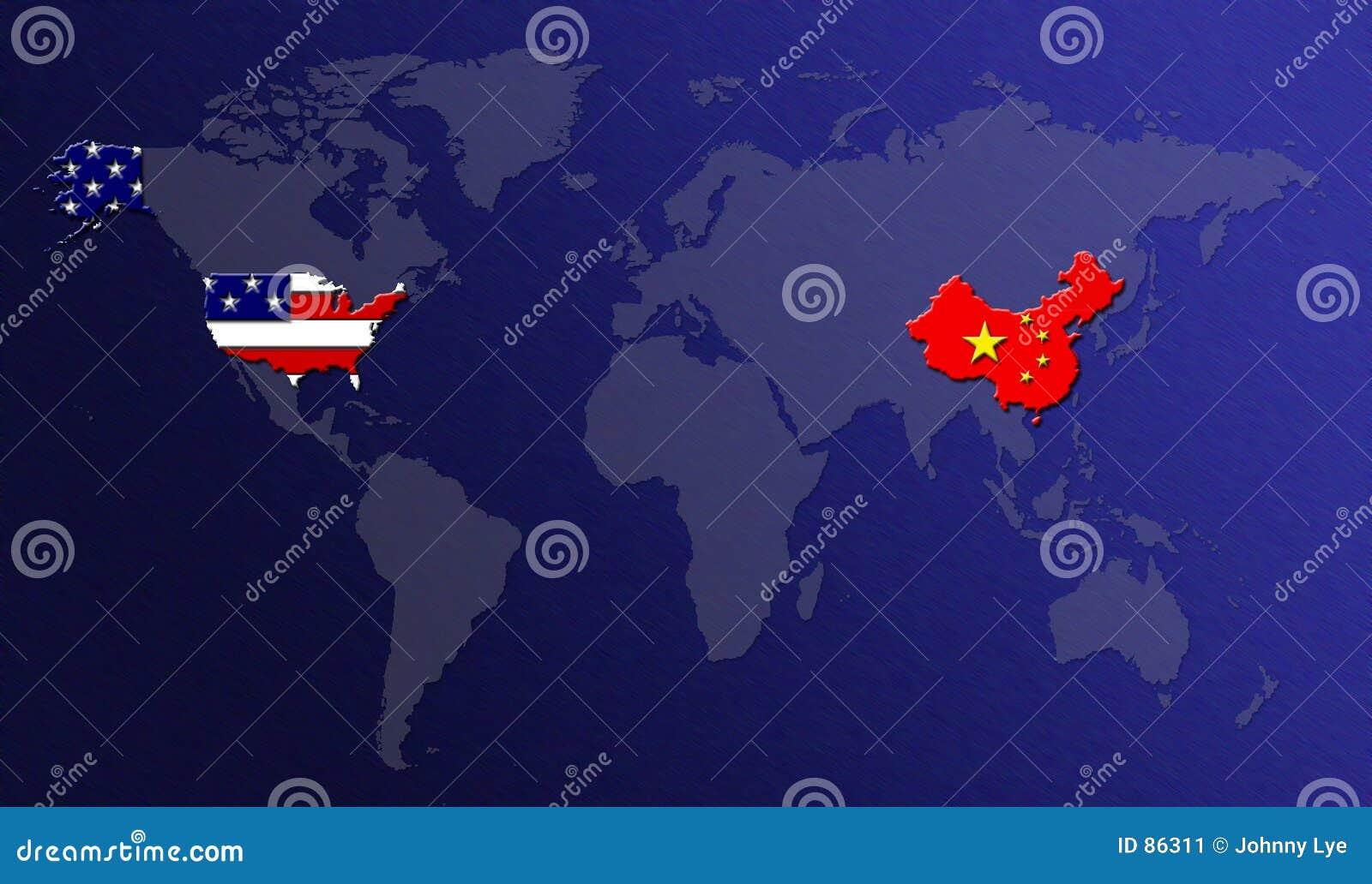 De Kaart van de wereld met Vlaggen