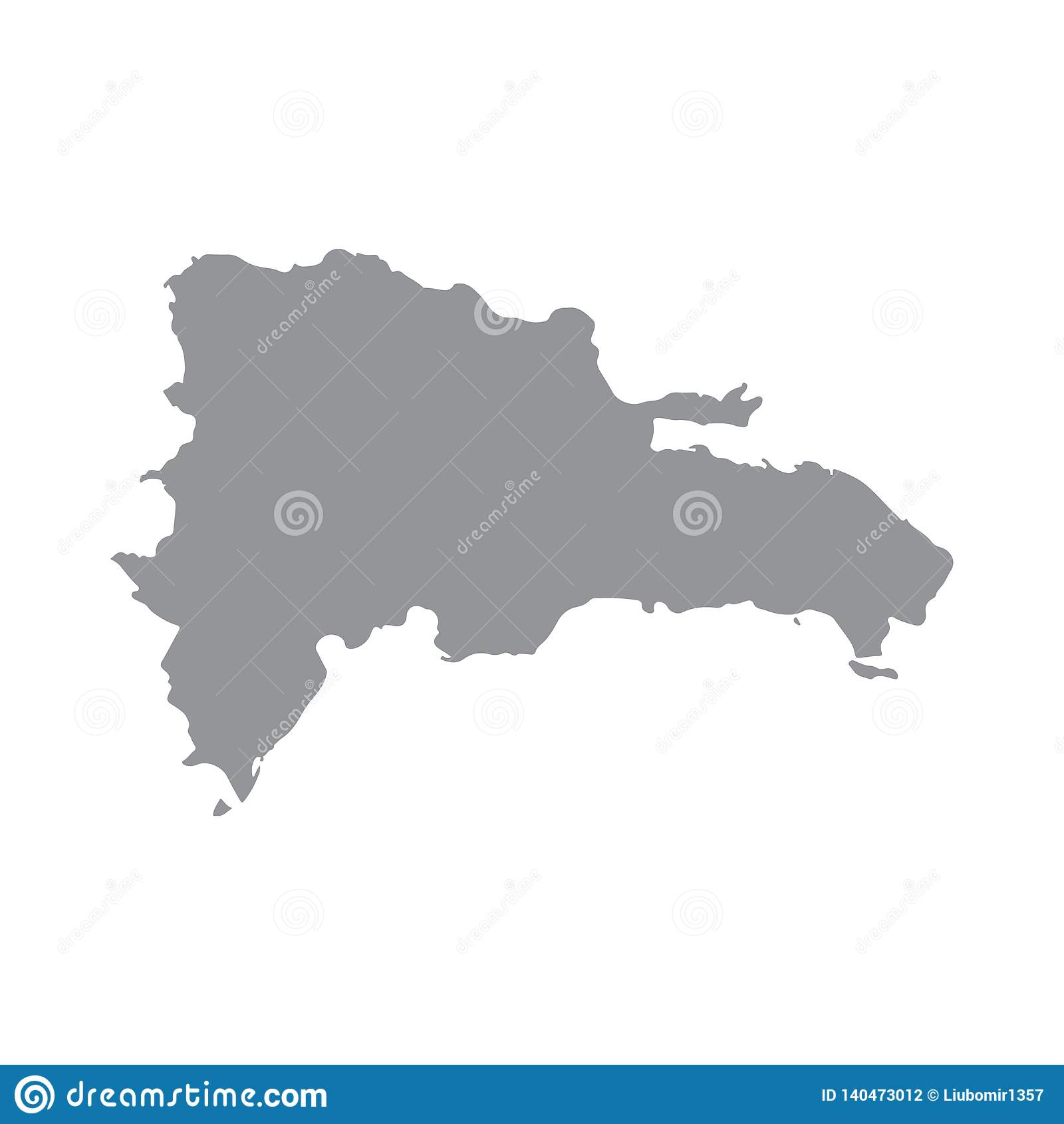 De kaart van de Dominicaanse Republiek in grijs op een witte achtergrond