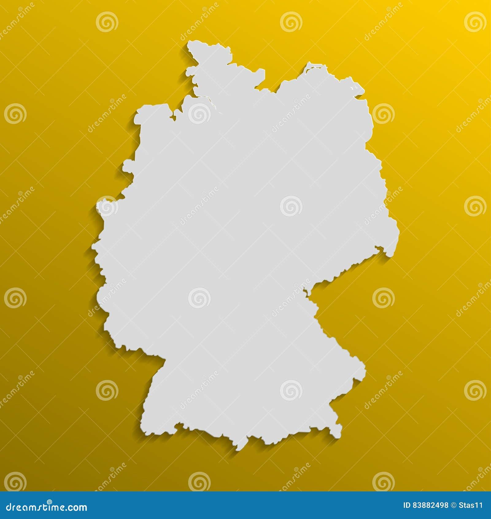 De kaart van Duitsland in grijs met schaduwen en gradiënten op een oranje achtergrond