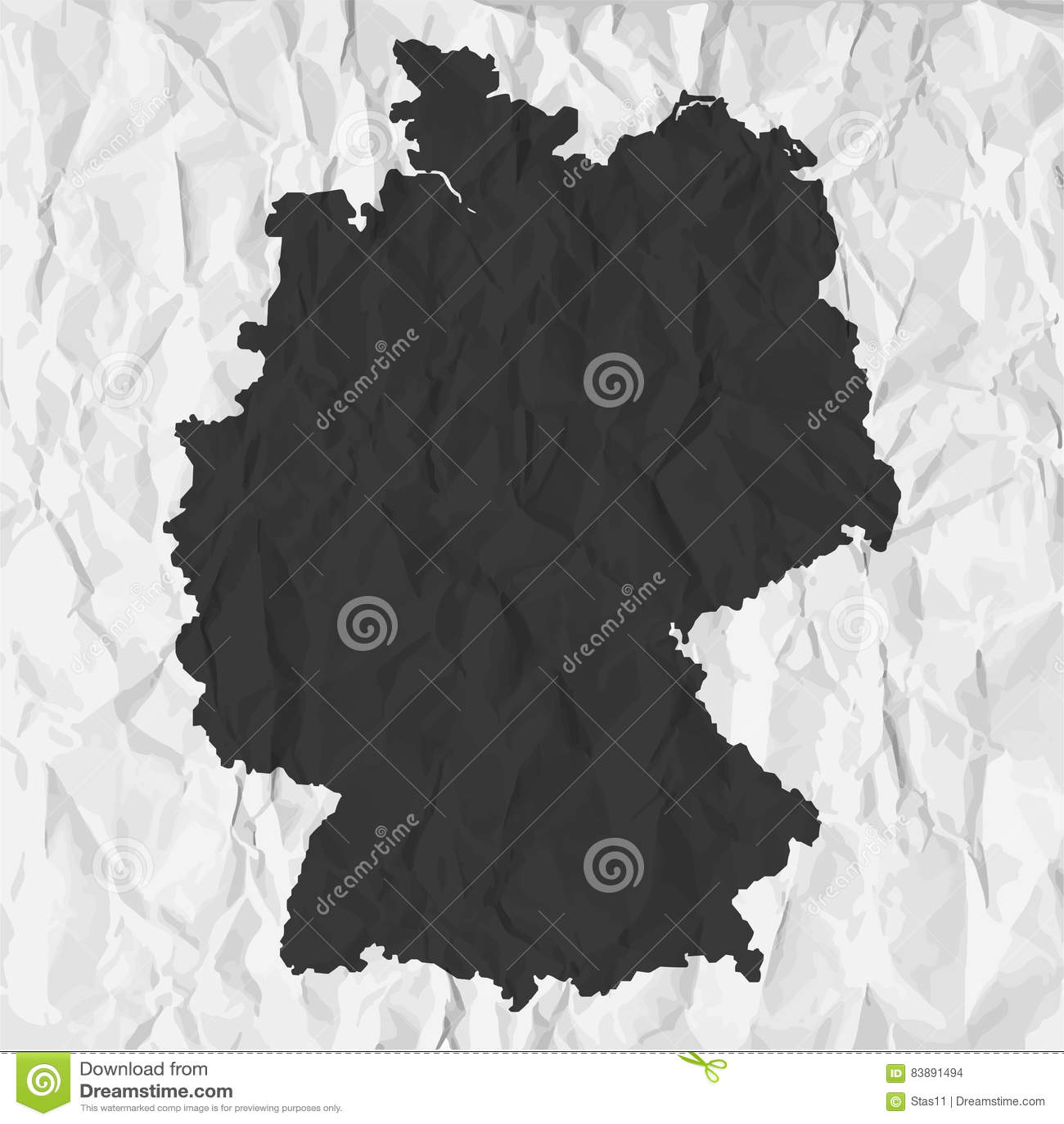 De kaart van Duitsland in zwarte op een achtergrond verfrommeld document