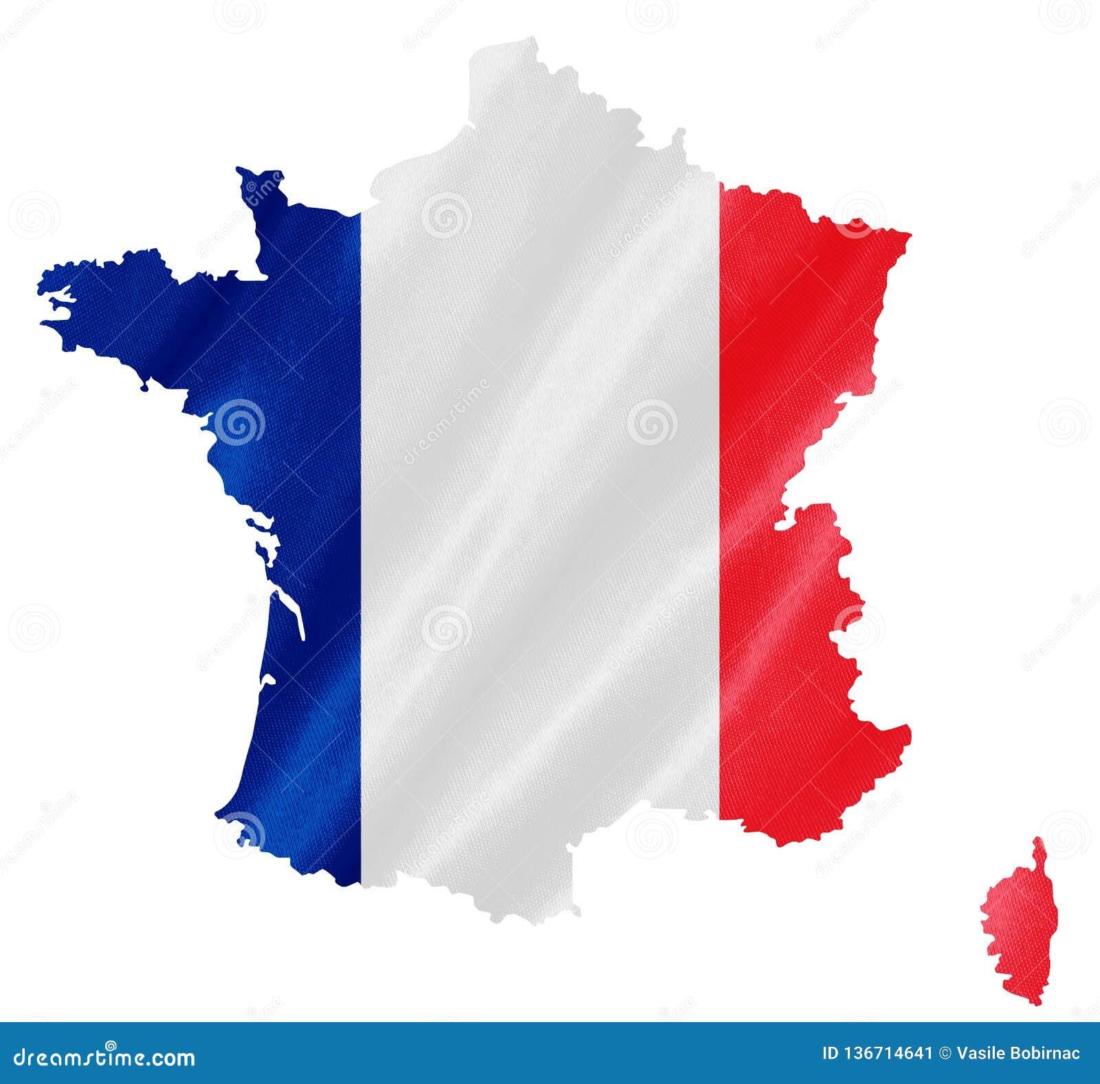 De kaart van Frankrijk met vlag