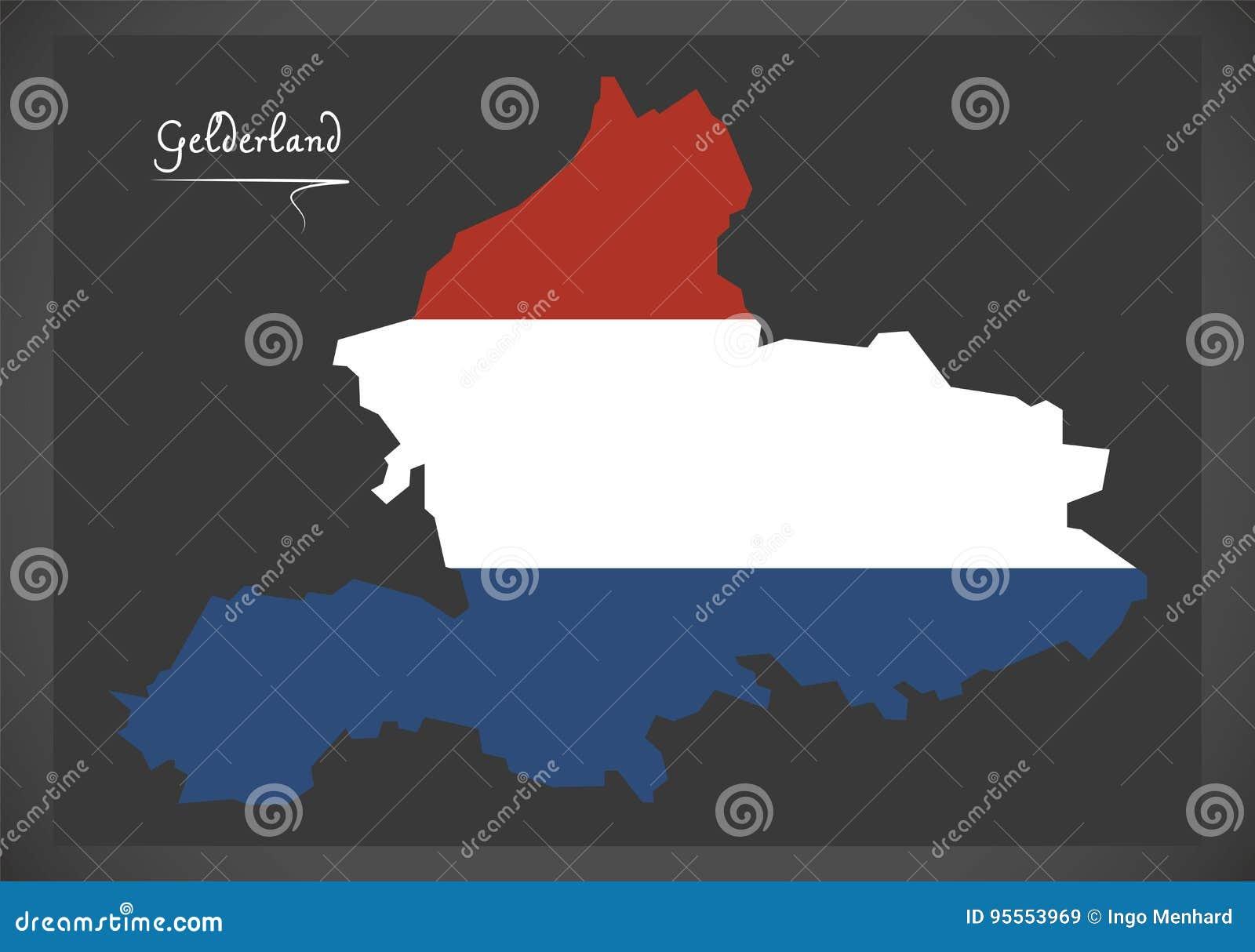 De Kaart Van Gelderland Nederland Met Nederlandse Nationale Vlag