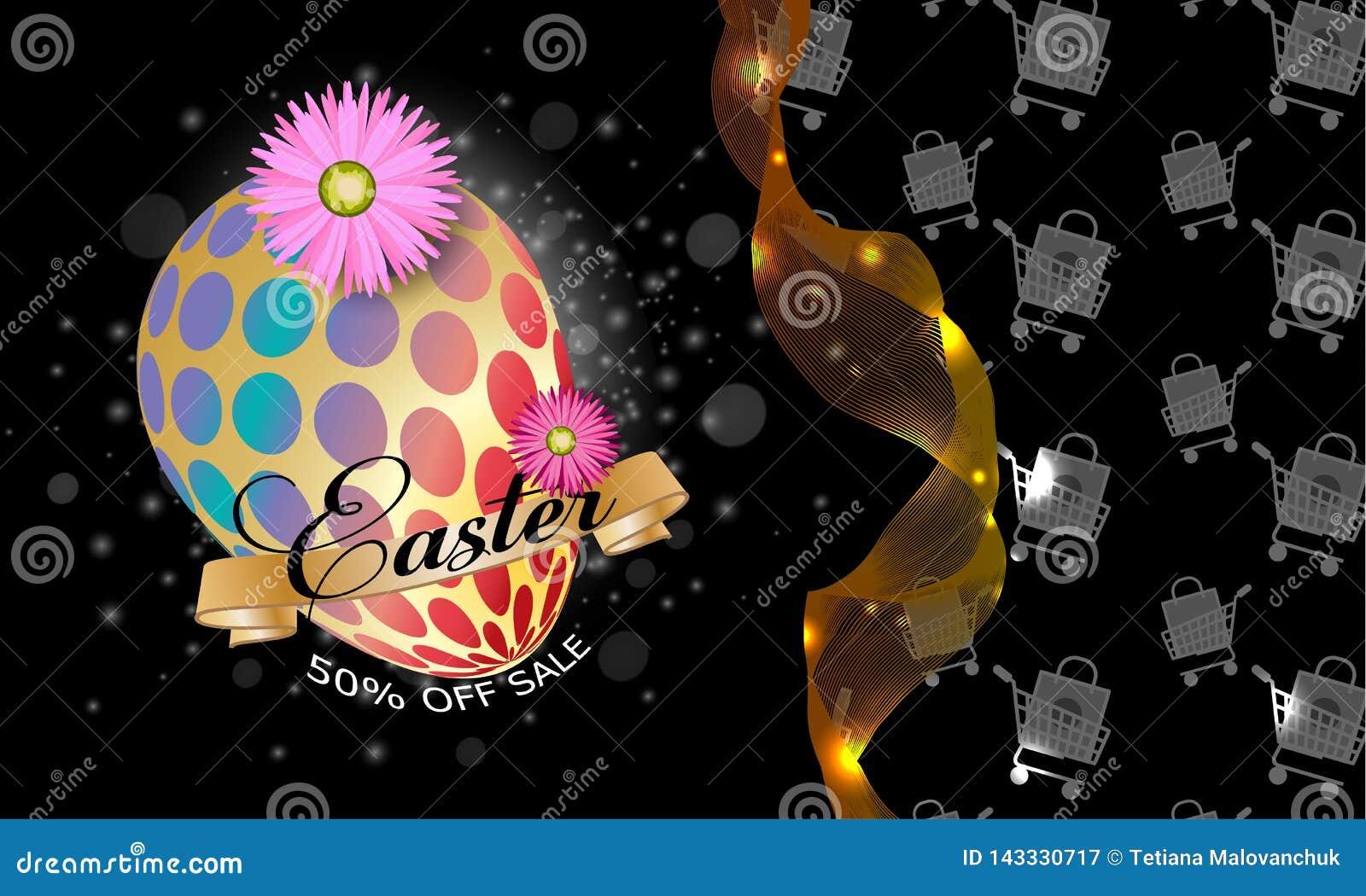 De kaart van de groet Gelukkig Pasen-malplaatje als achtergrond met l-bloemen en paasei Vectorillustratie - Beelden vectorielles