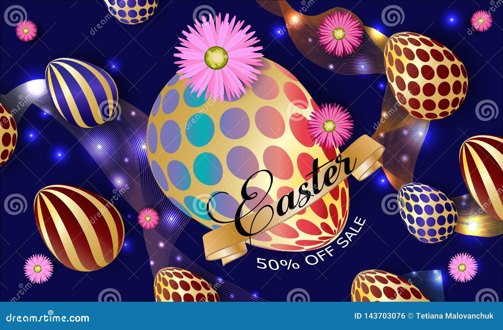 De kaart van de groet Gelukkig Pasen-malplaatje als achtergrond met l-bloemen en paaseieren Vectorillustratie - Beelden vectoriel