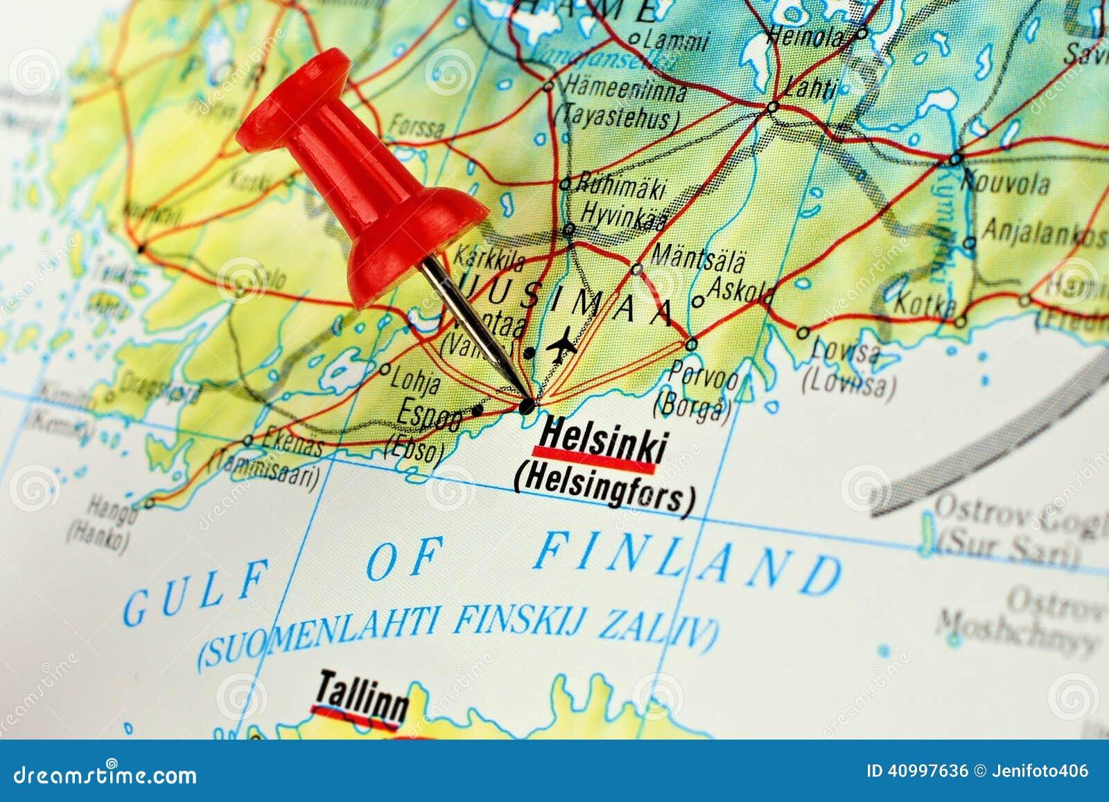 De kaart van Helsinki met speld