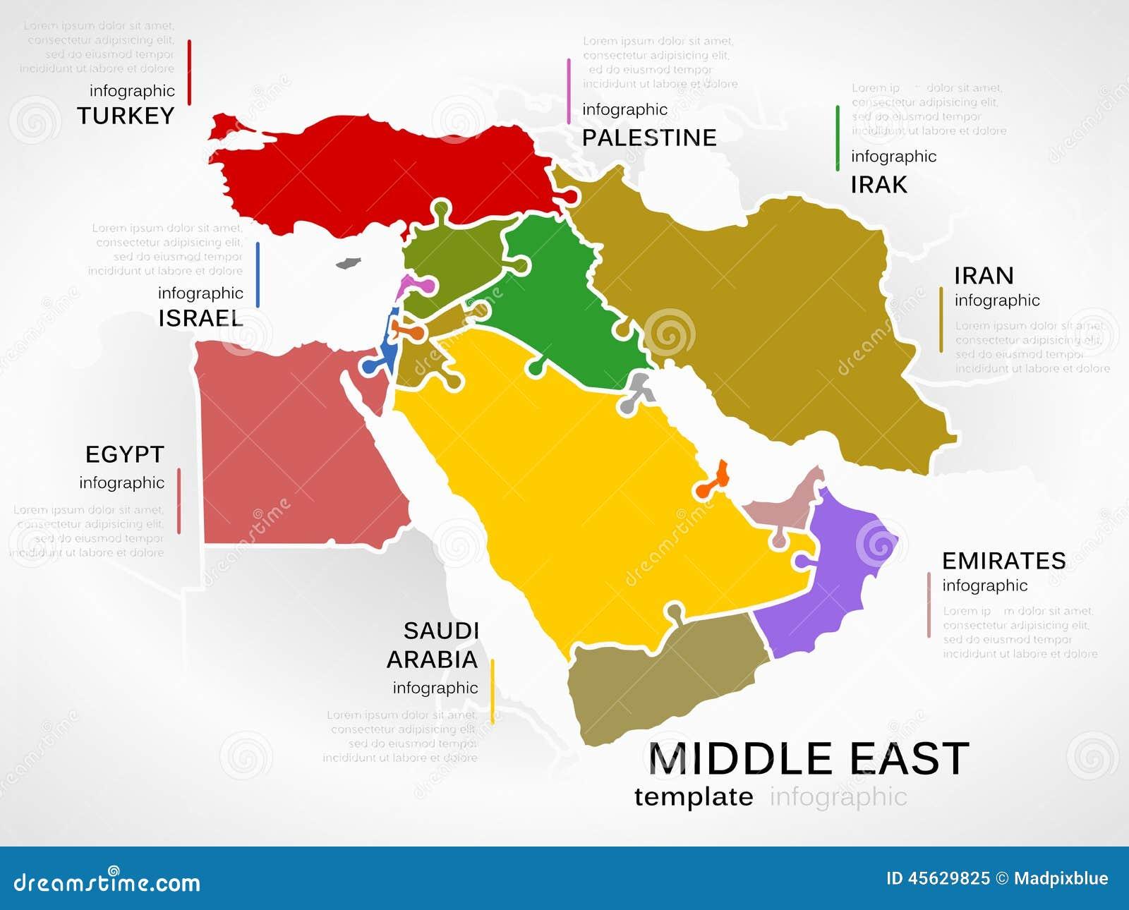De kaart van het Midden-Oosten