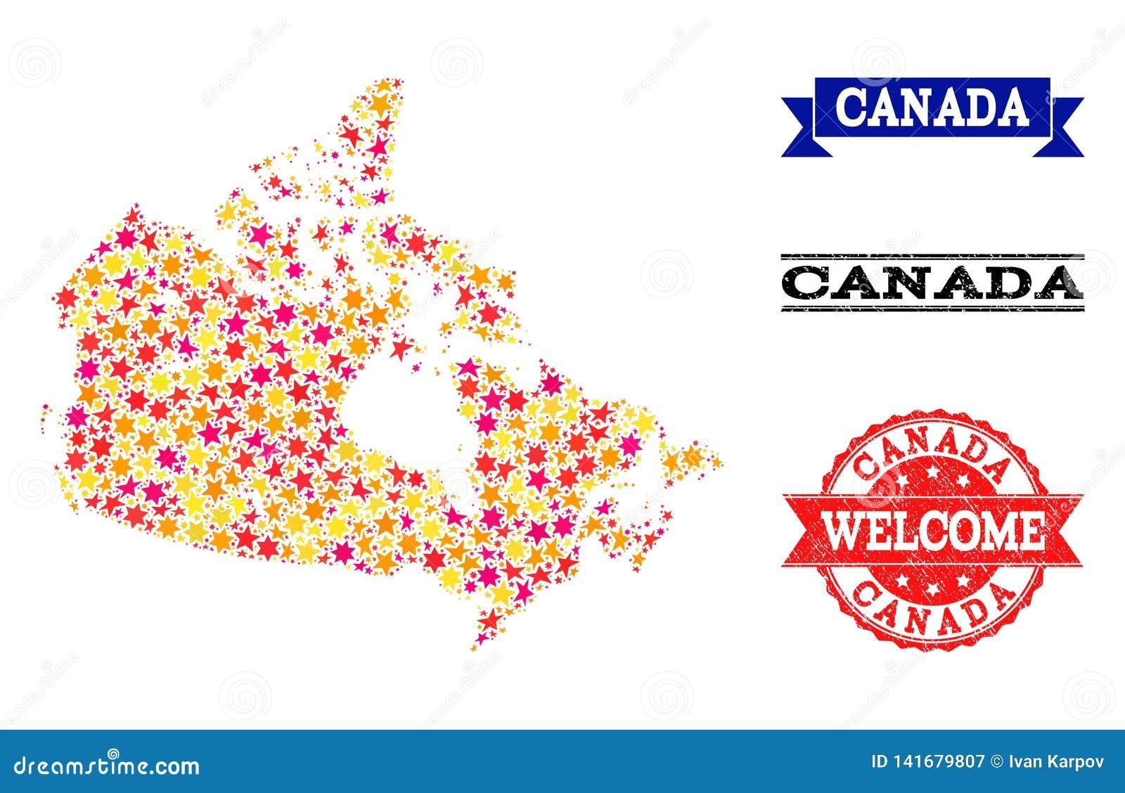 De Kaart van het stermozaïek van de Watermerken van Canada en Grunge-