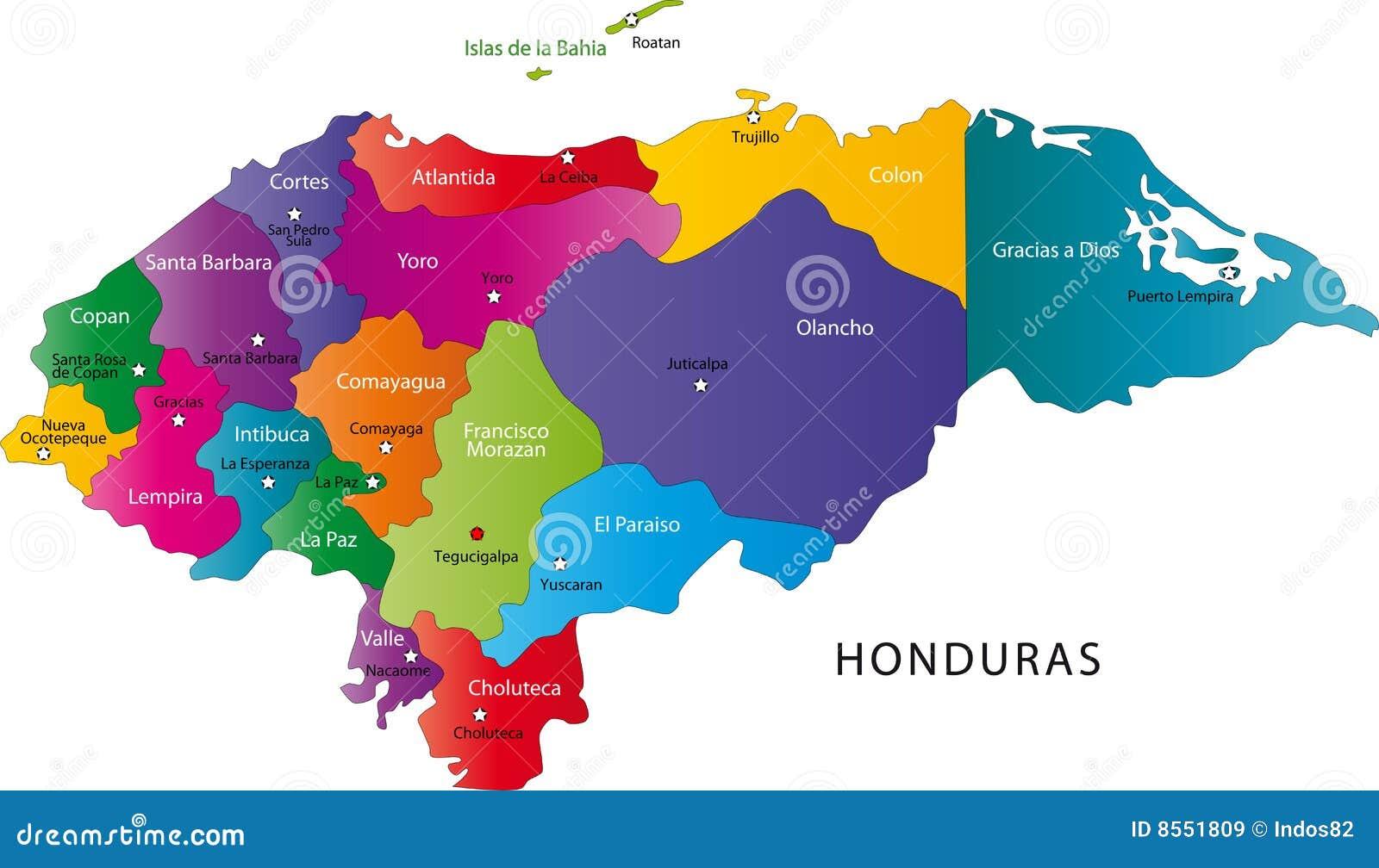 De kaart van Honduras