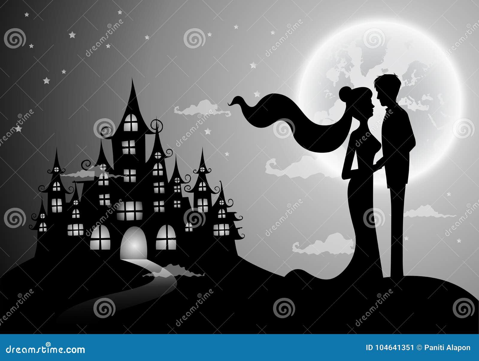 Download De Kaart Van De Huwelijksuitnodiging Met Silhouetbruid En Bruidegom Vector Illustratie - Illustratie bestaande uit maan, datum: 104641351