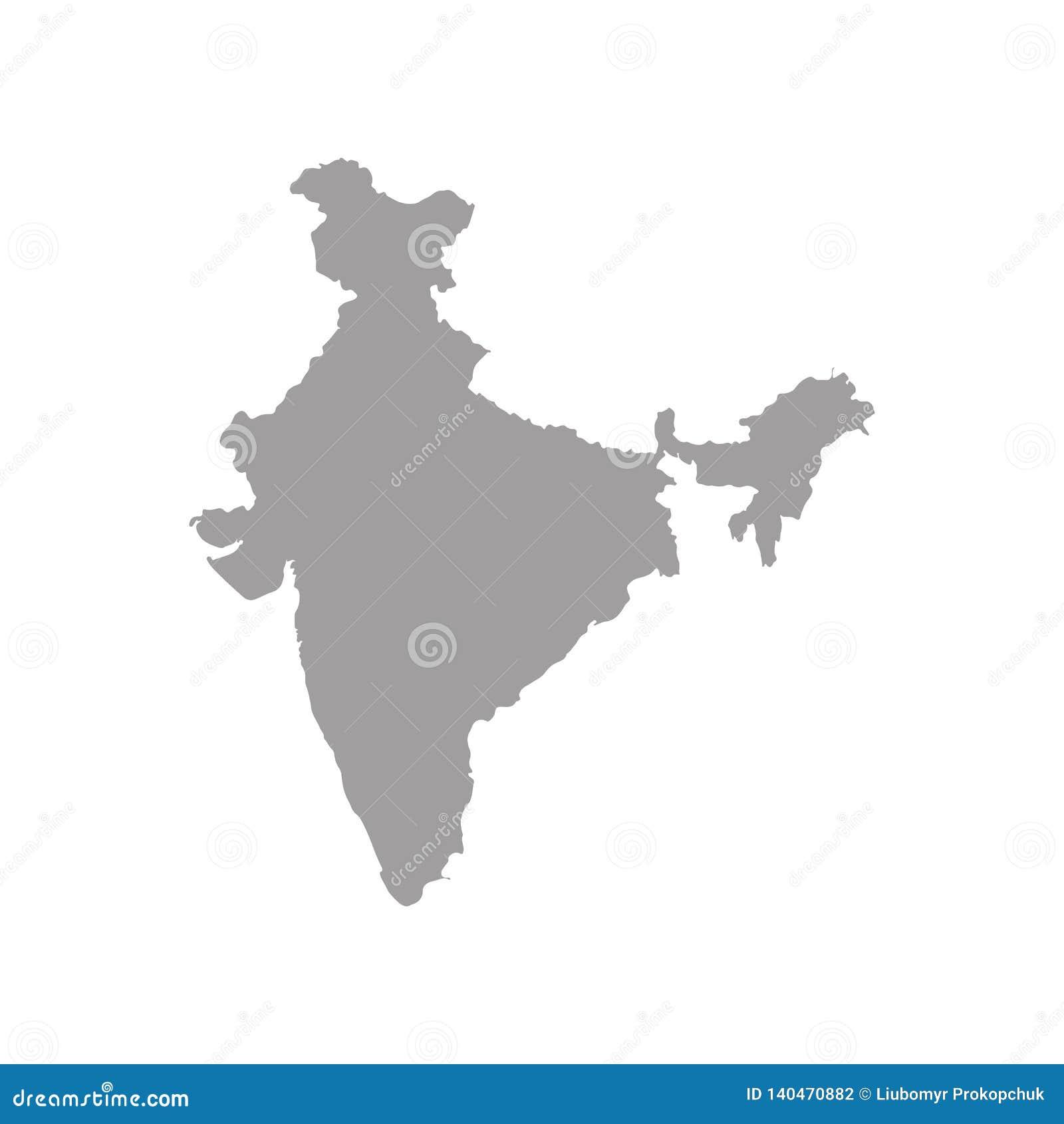 De kaart van India met schaduw