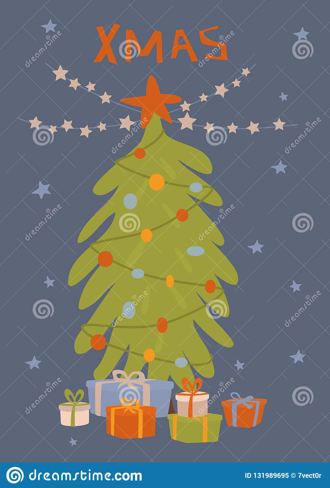 De kaart van de Kerstmisgroet met Kerstmisboom, giftdozen en de vectorillustratie van de sterslinger