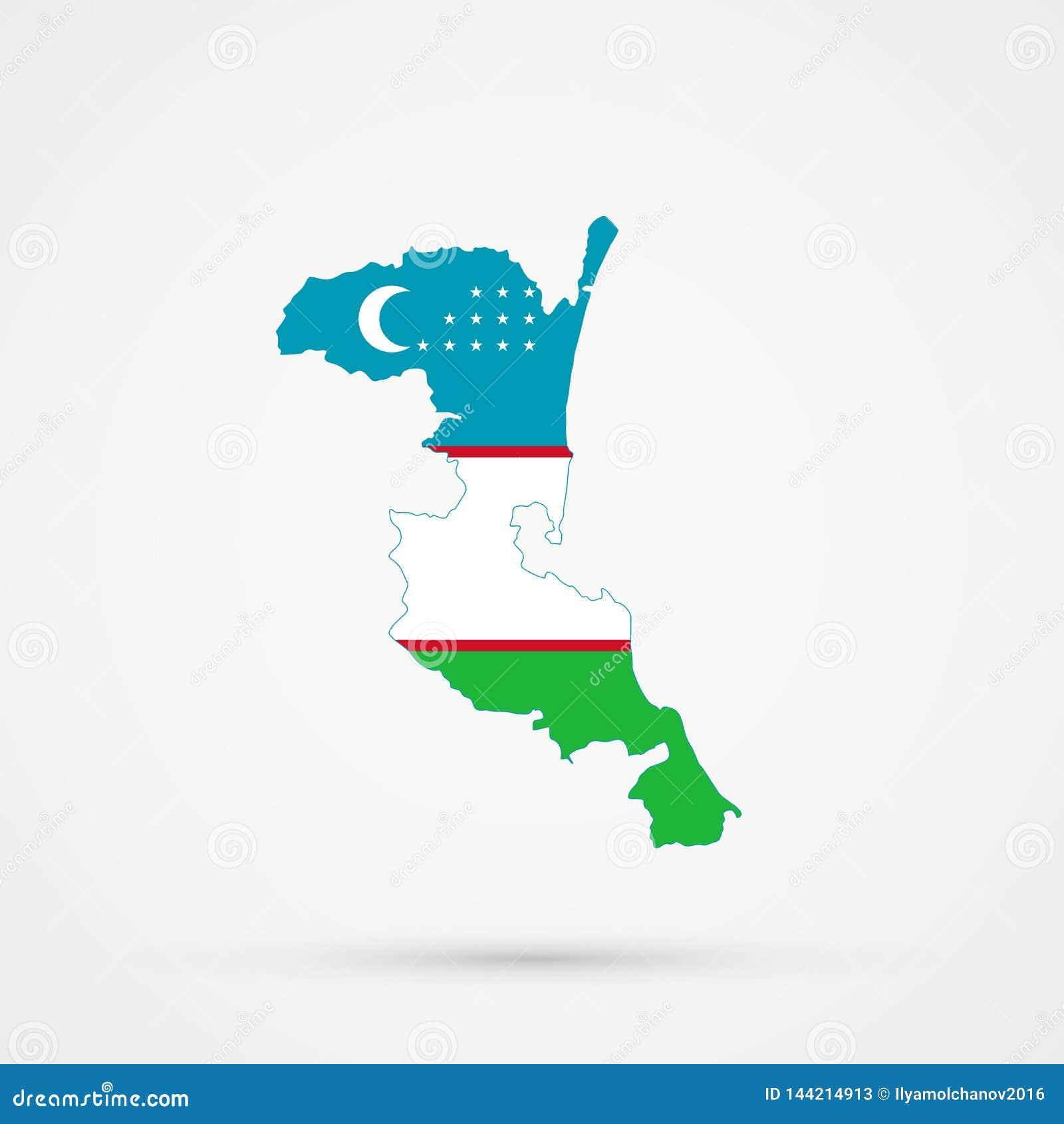 De kaart van Kumykiadagestan in de vlagkleuren van Oezbekistan, editable vector